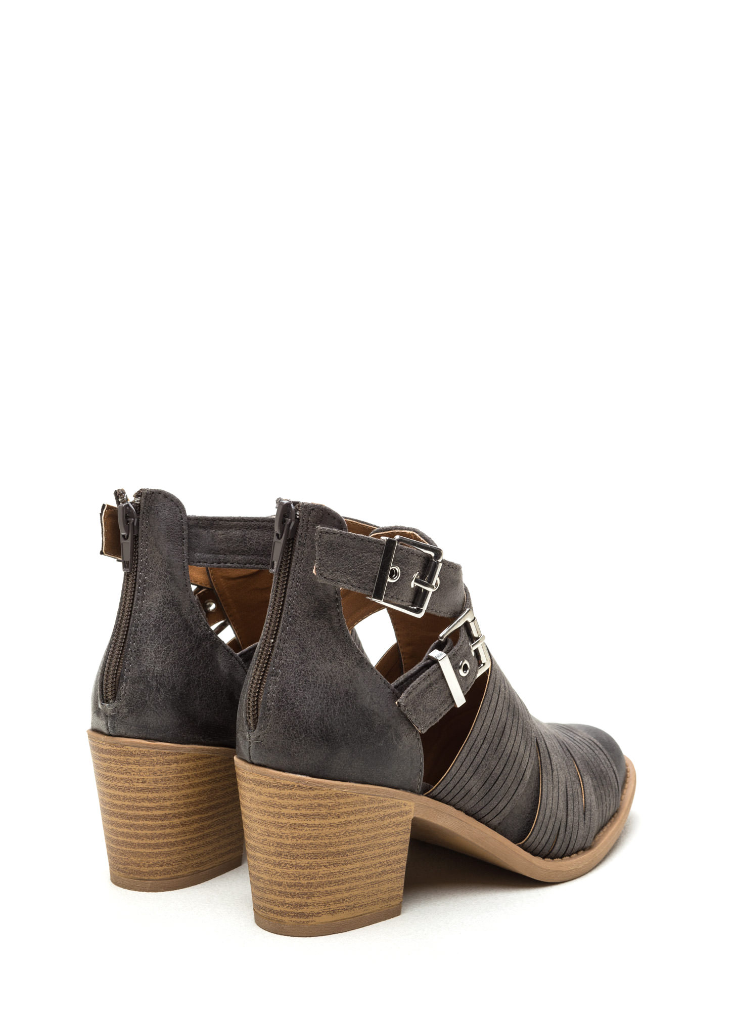 Make The Cut-Out Booties GREY (Final Sale)
