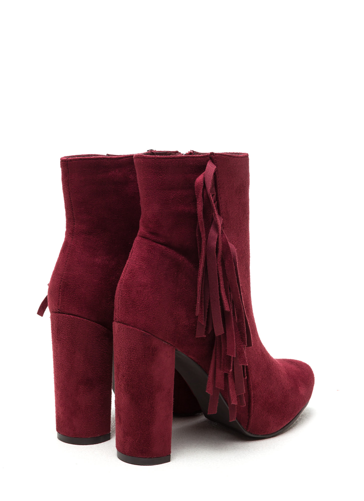 Fringe-Off Chunky Faux Suede Booties BERRY