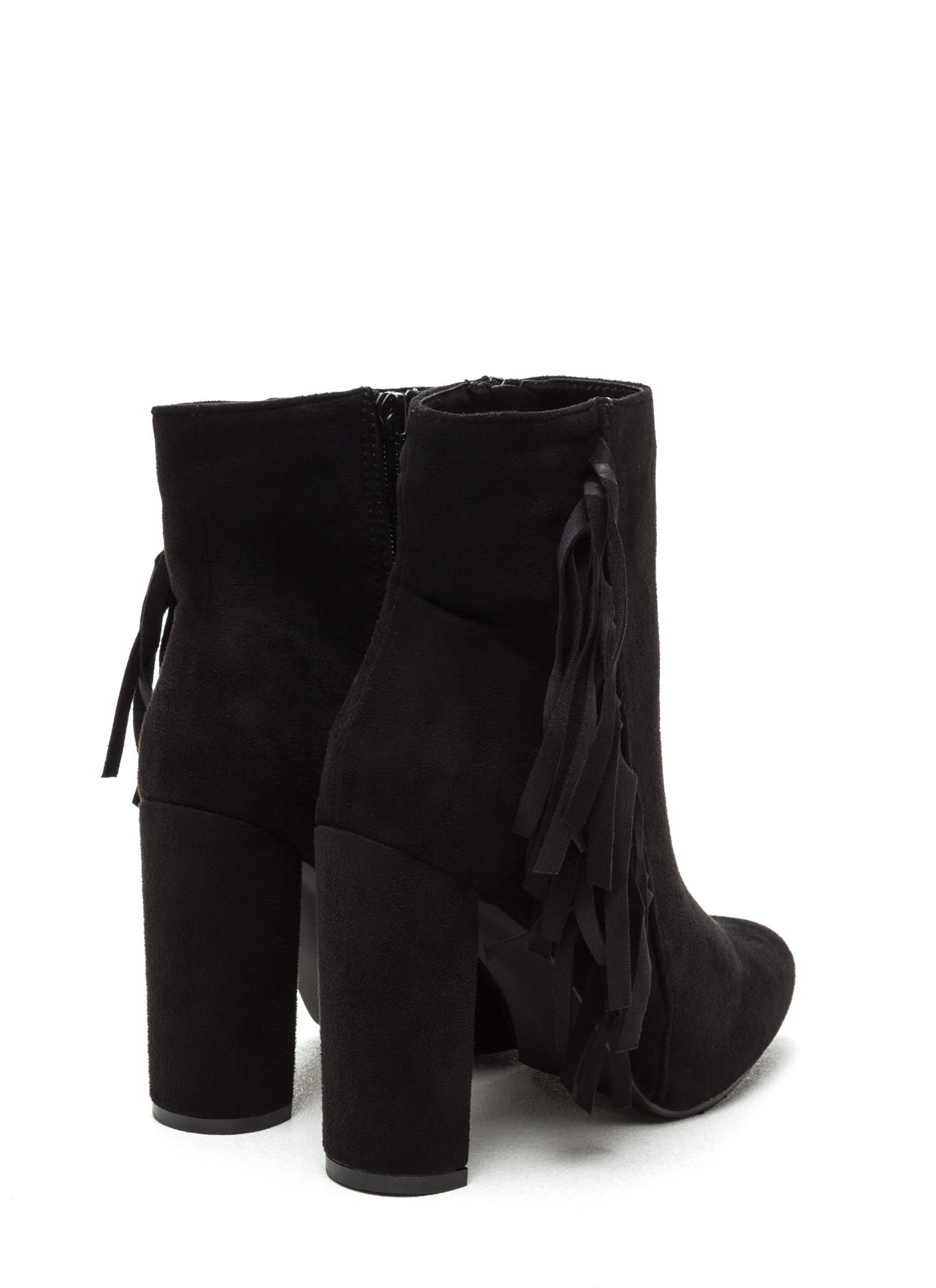 Fringe-Off Chunky Faux Suede Booties BLACK