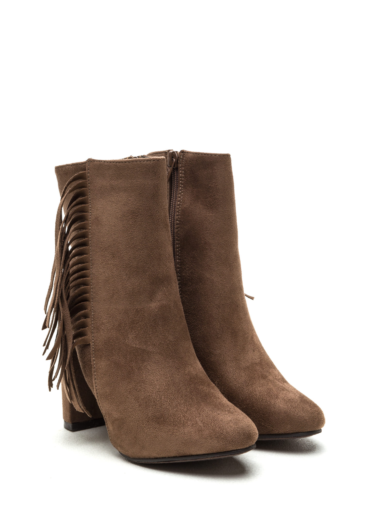 Fringe-Off Chunky Faux Suede Booties TAUPE