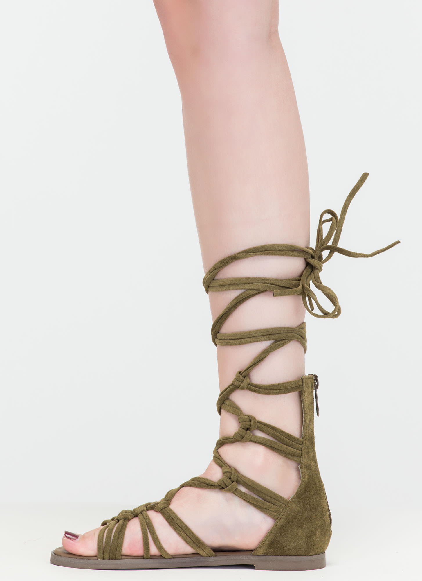 Knotty By Nature Gladiator Sandals OLIVE