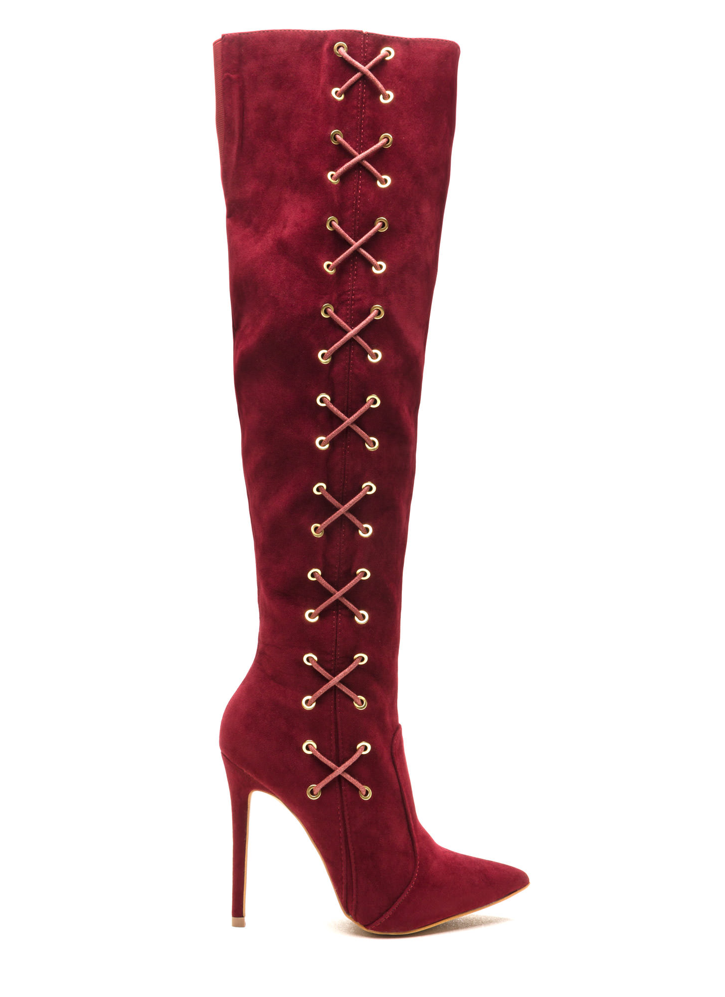 Corsets On Pointy Faux Suede Boots WINE