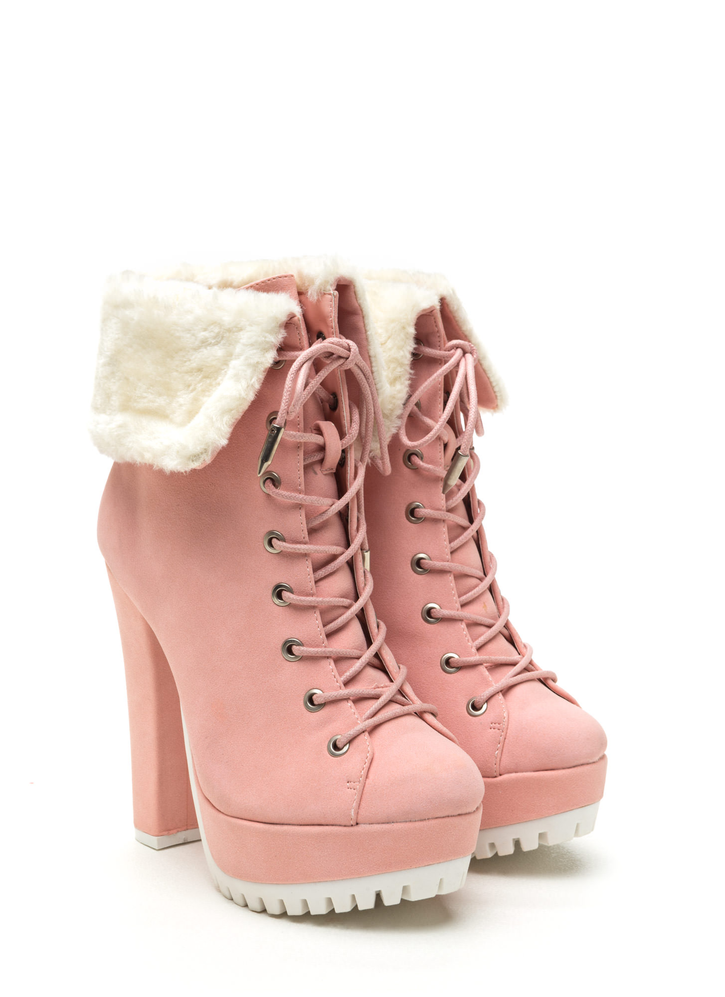 Fur Your Own Good Chunky Booties PINK