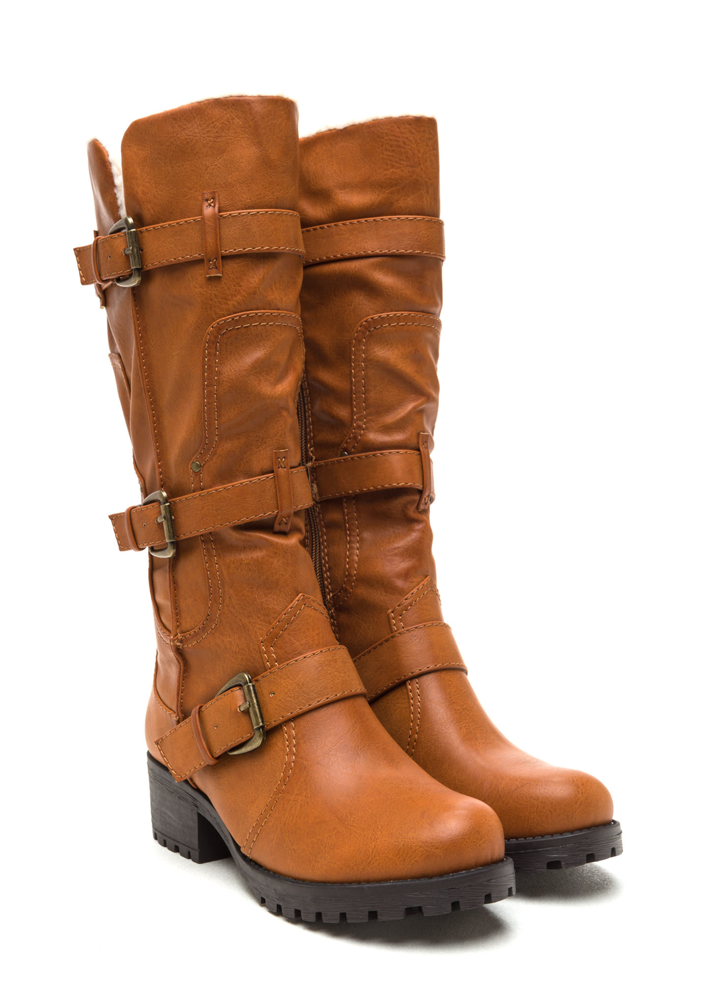 Tri-Hard Faux Shearling Boots CHESTNUT