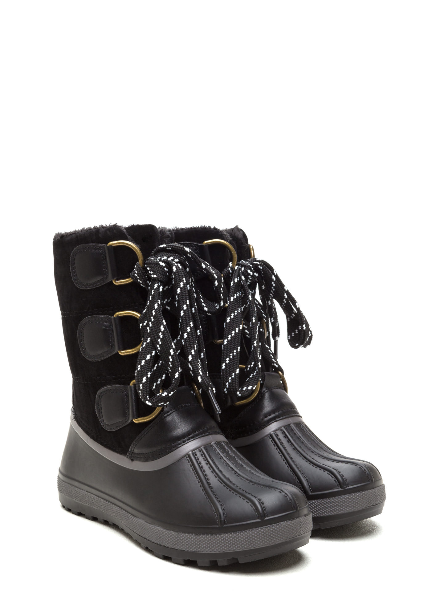 Snowed In Mixed Media Duck Boots BLACK