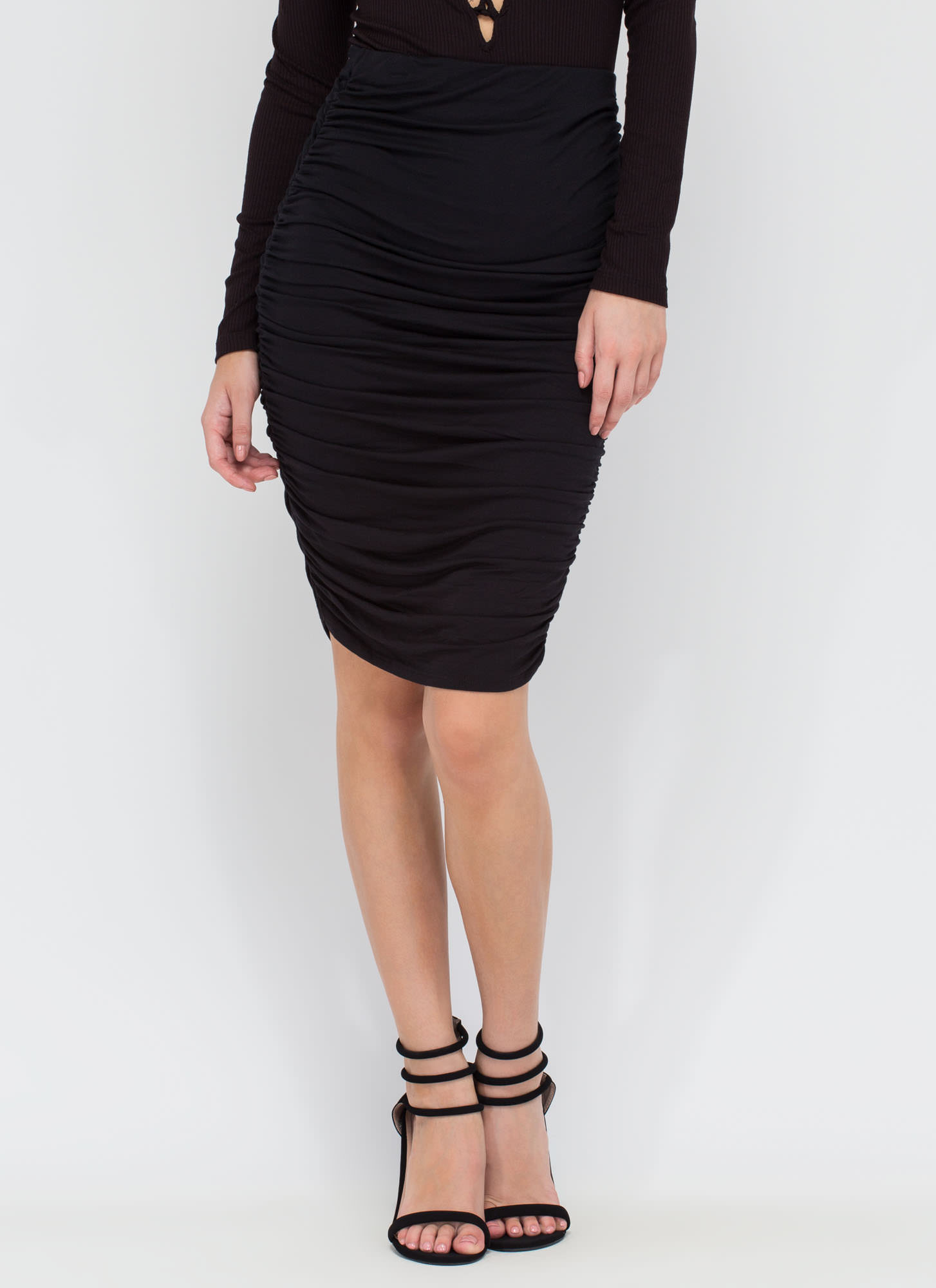 Ruched And Ready Draped Midi Skirt BLACK