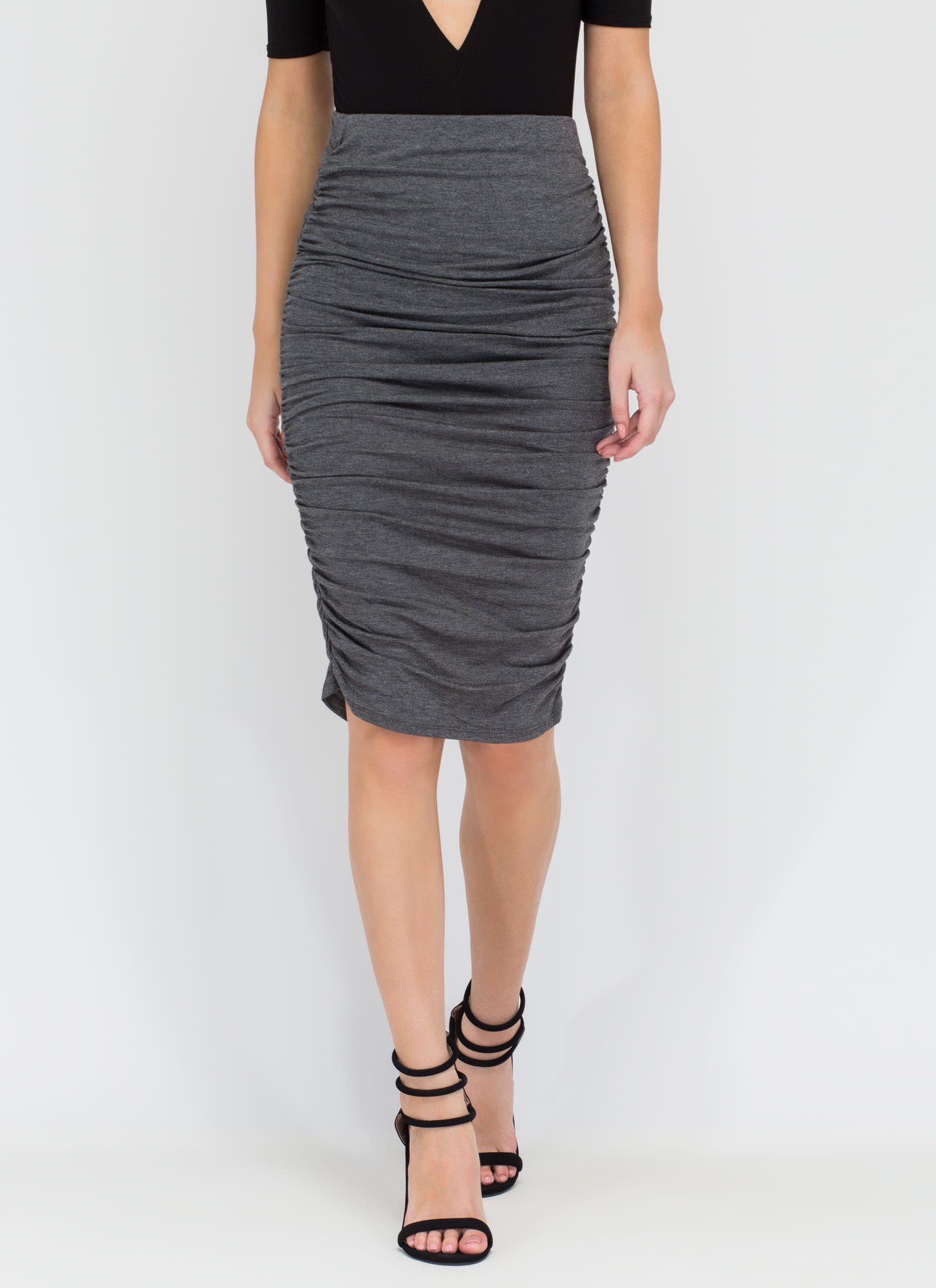Ruched And Ready Draped Midi Skirt CHARCOAL