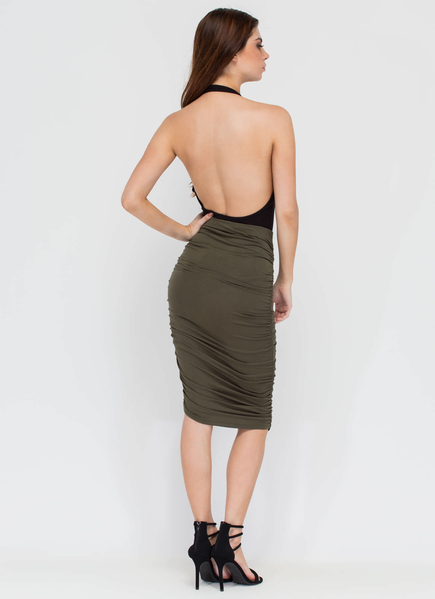 Ruched And Ready Draped Midi Skirt OLIVE