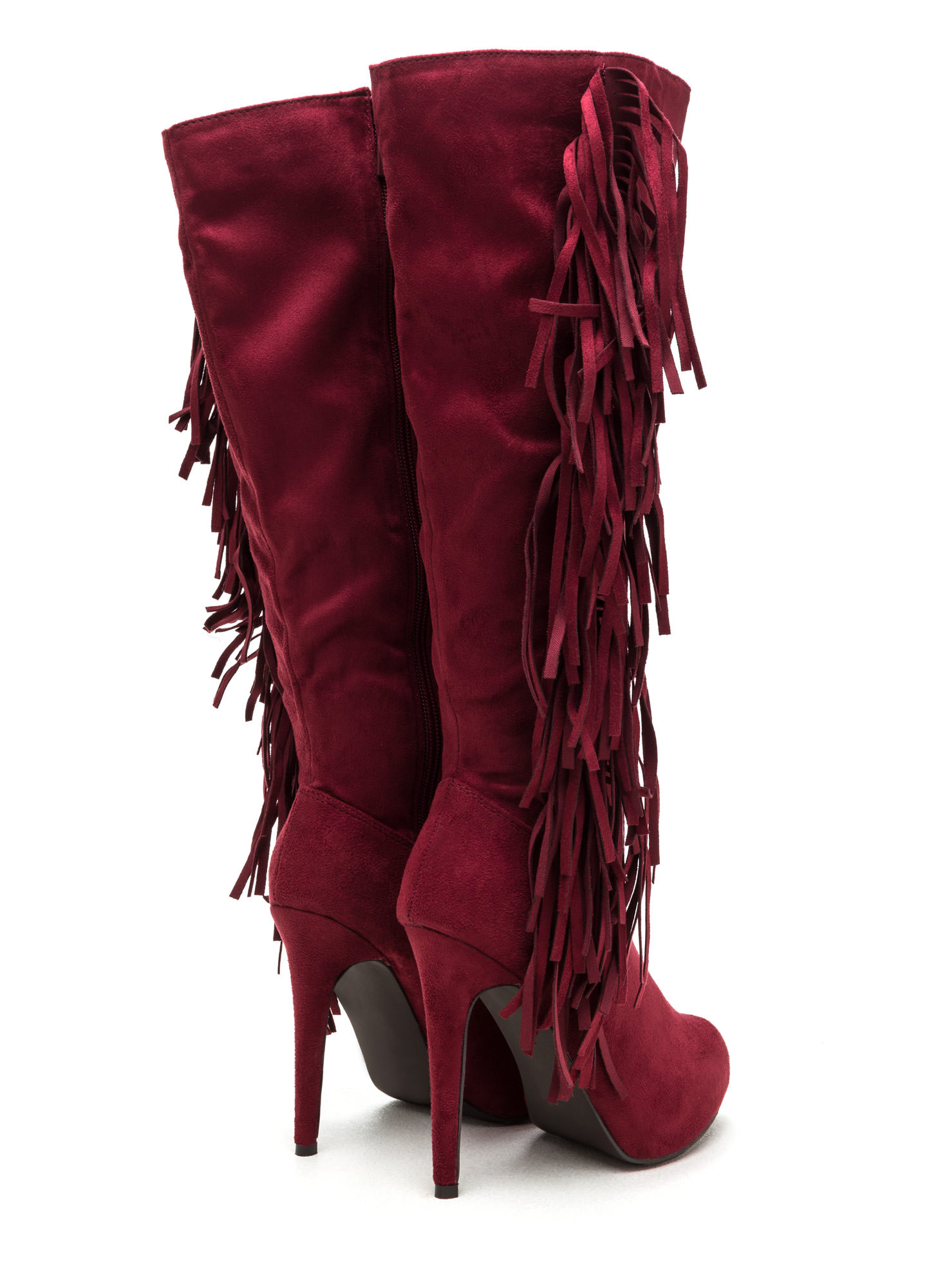 Fringe Out Faux Suede Boots BERRY