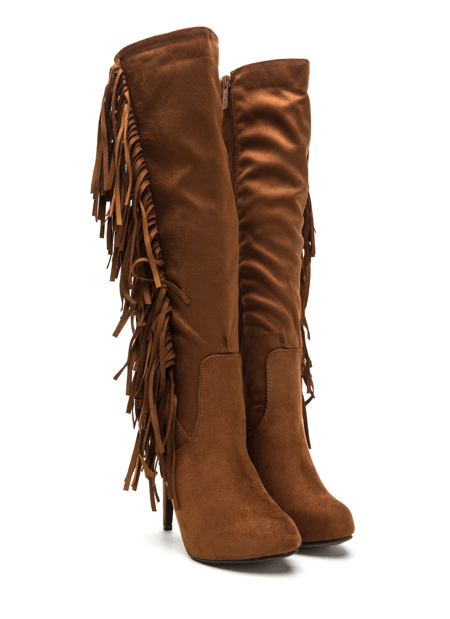Fringe Out Faux Suede Boots TAN