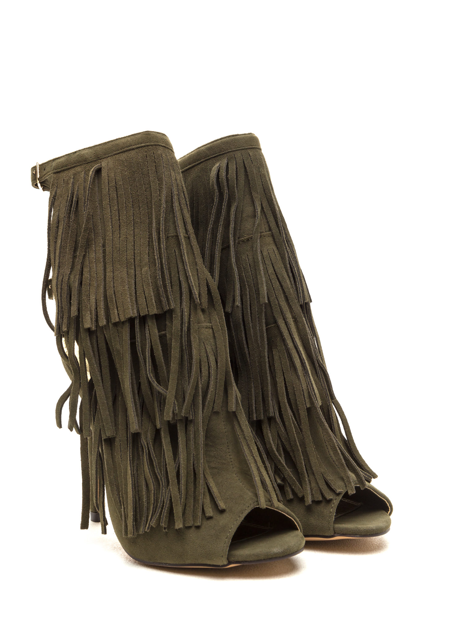 Fringe Frenzy Faux Suede Booties OLIVE