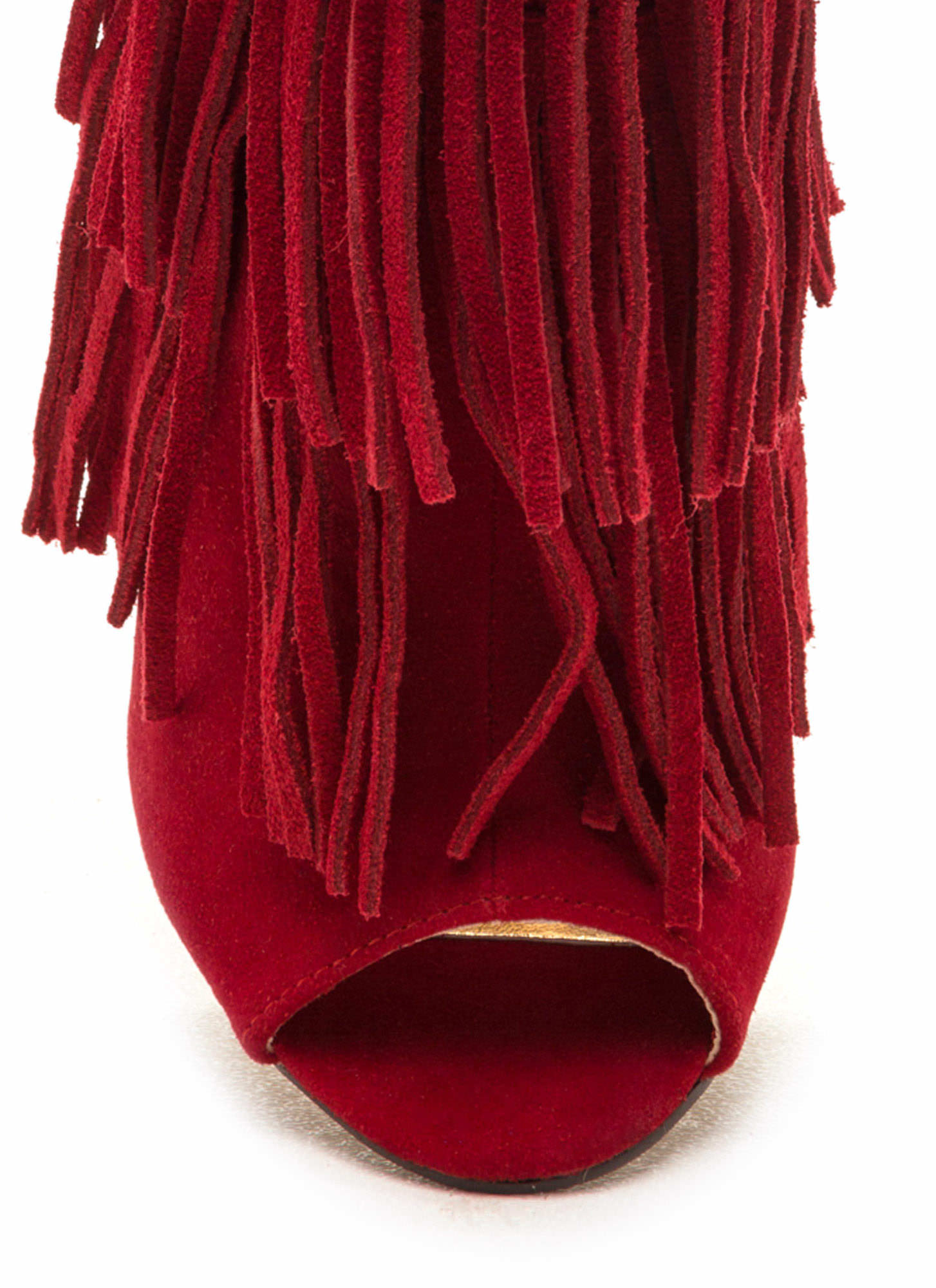 Fringe Frenzy Faux Suede Booties RED