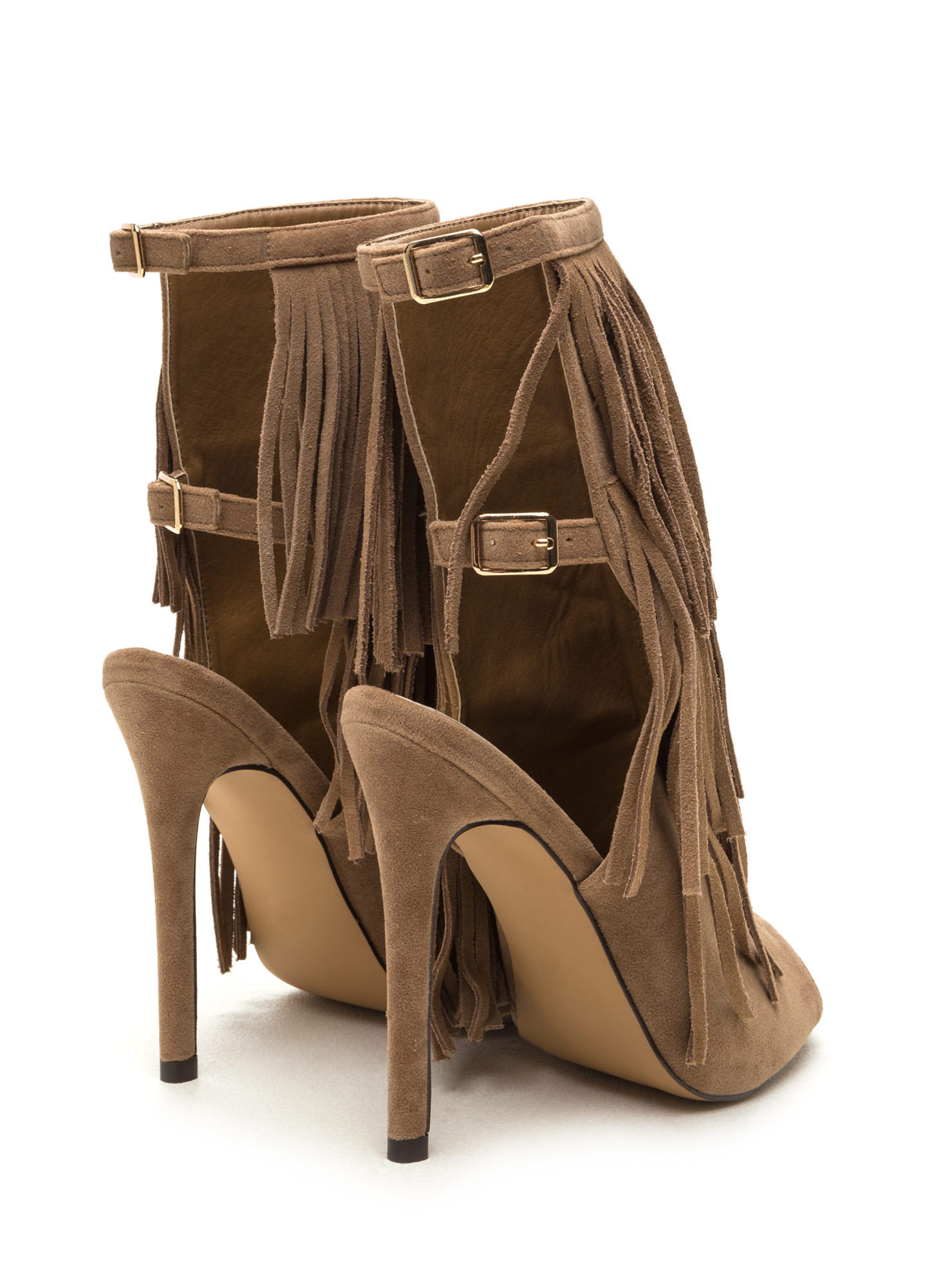 Fringe Frenzy Faux Suede Booties TAUPE