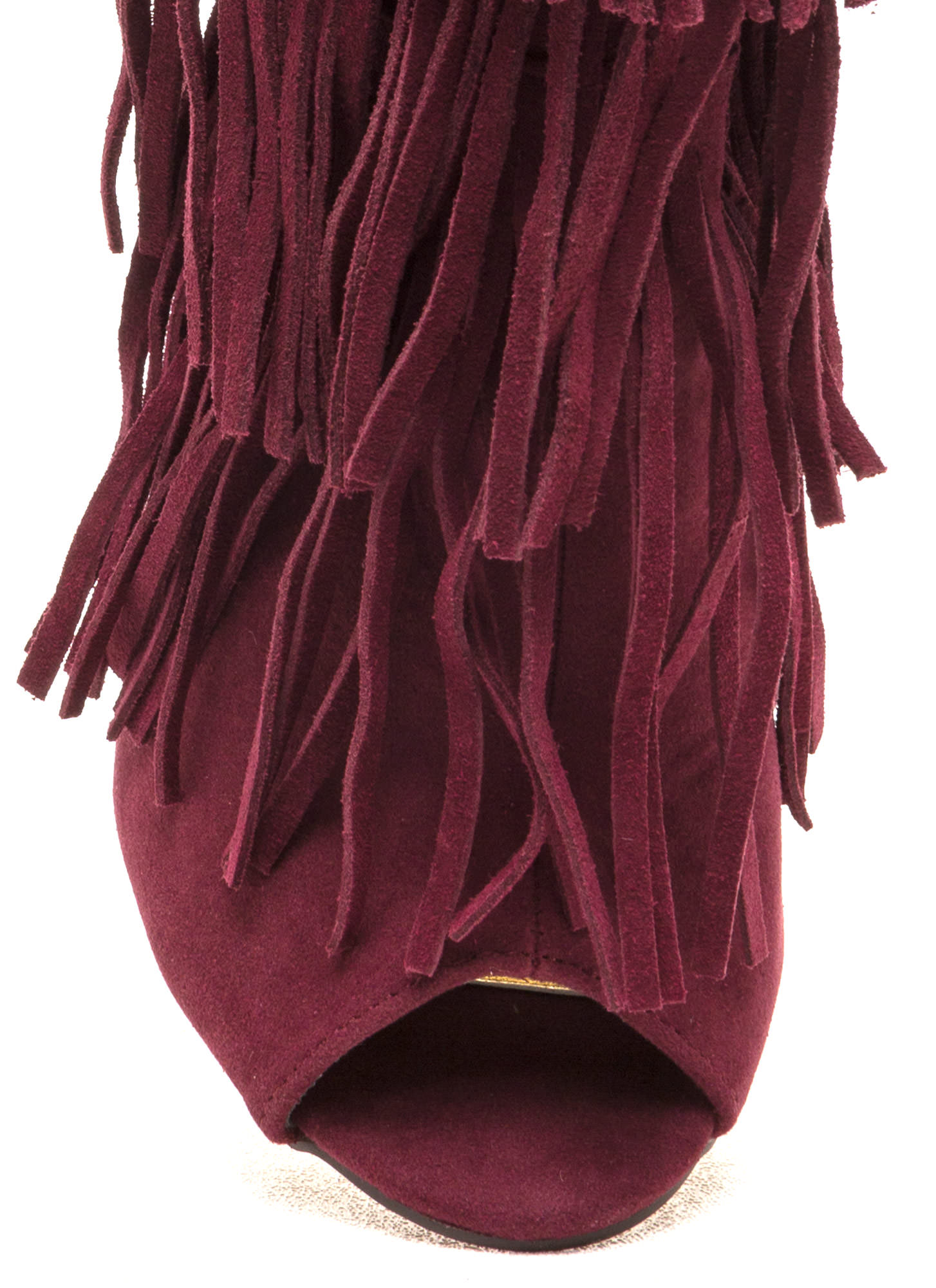 Fringe Frenzy Faux Suede Booties WINE