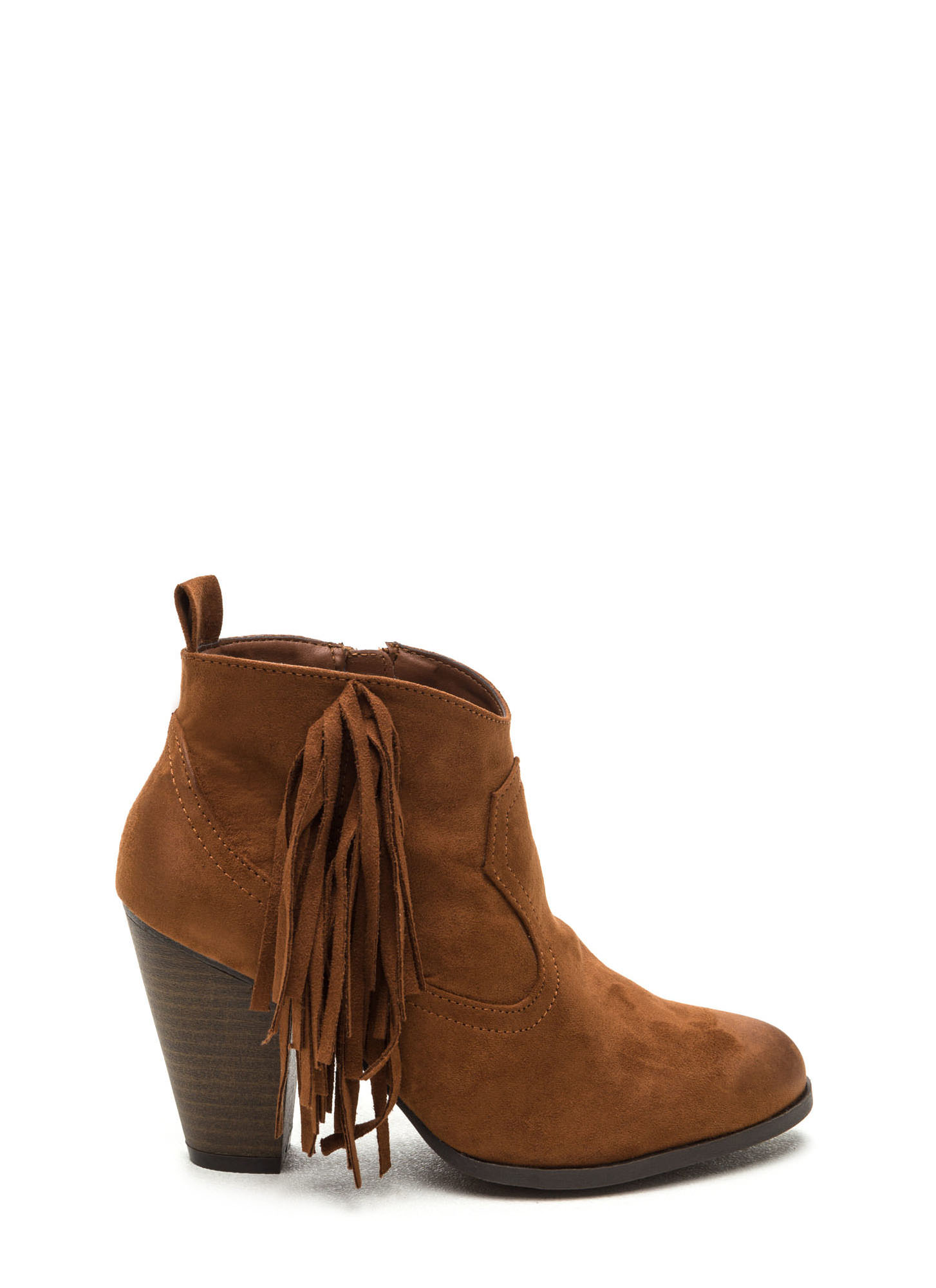 Ride A Cowgirl Fringed Chunky Booties DKRUST