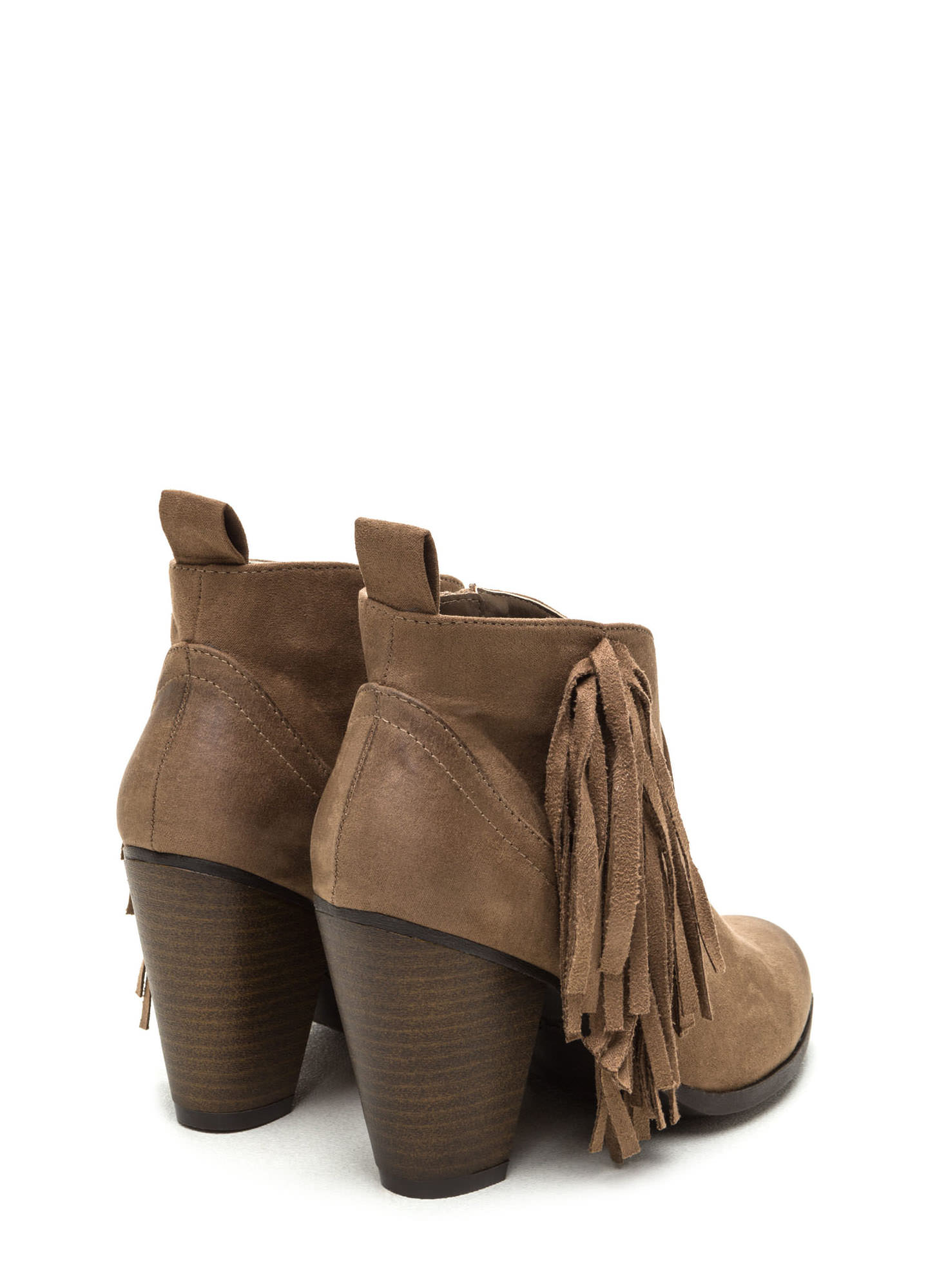 Ride A Cowgirl Fringed Chunky Booties TAUPE