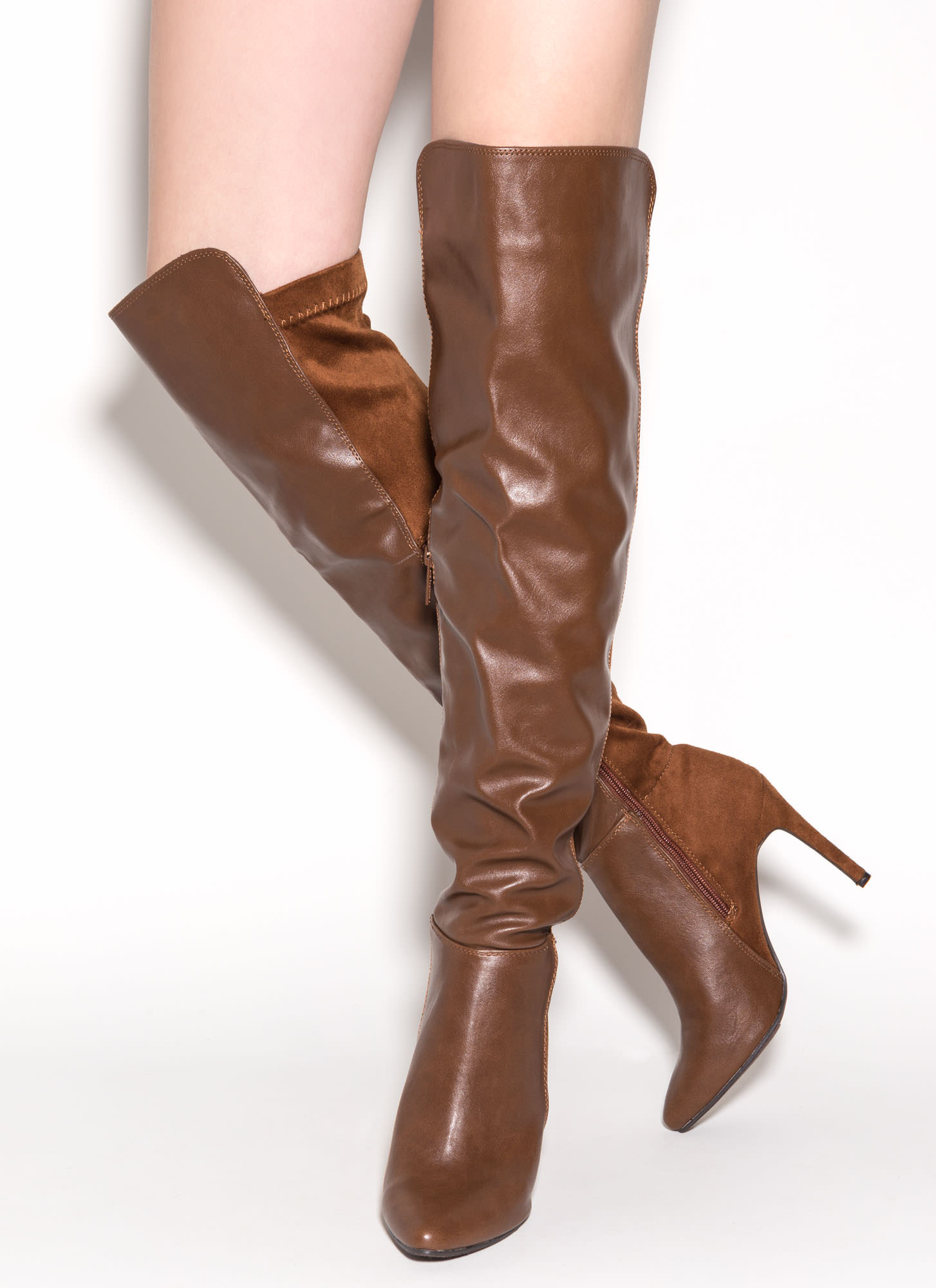 Mix Master Over-The-Knee Boots TAN