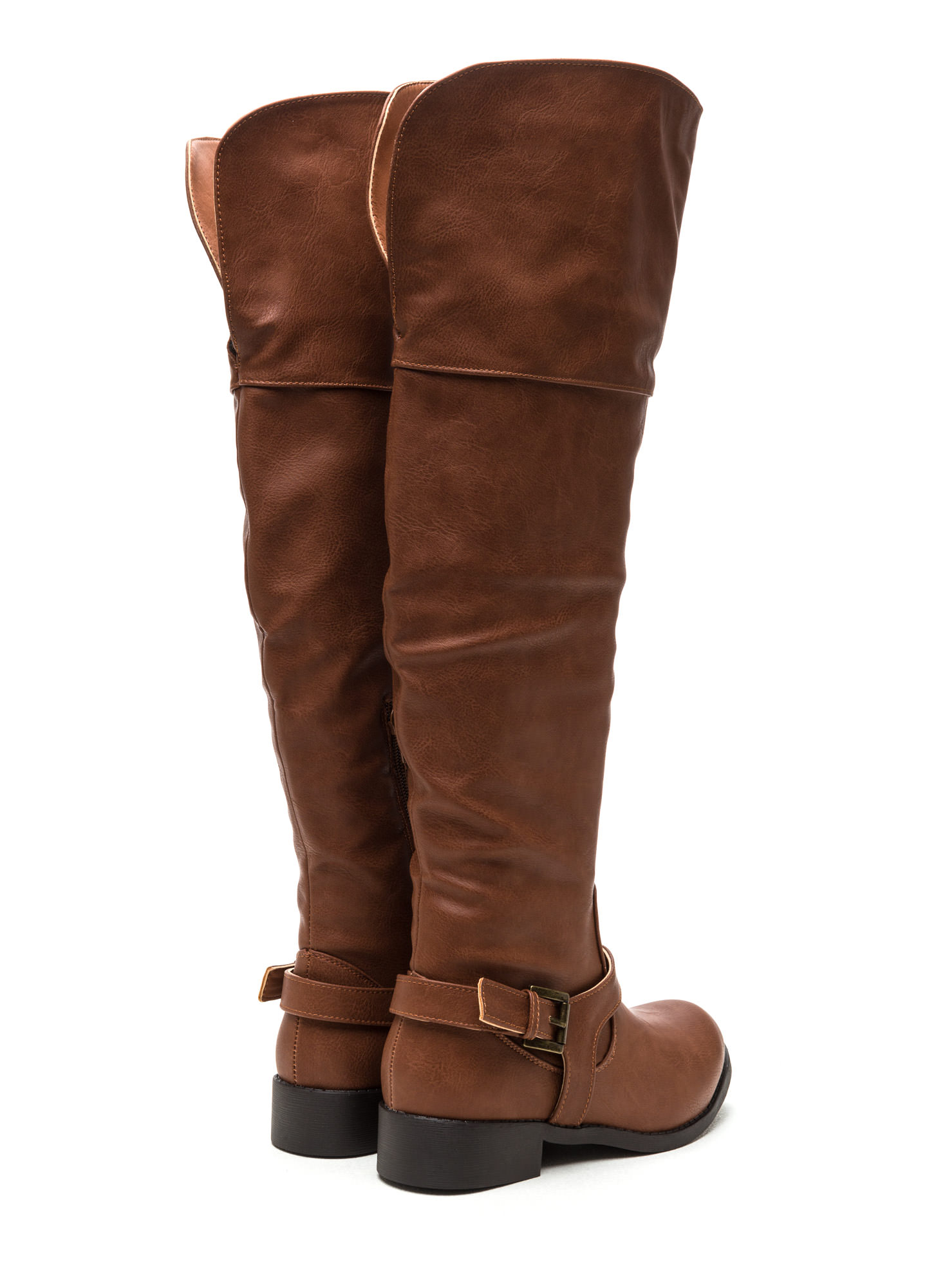 Harness Your Talents Thigh-High Boots COGNAC