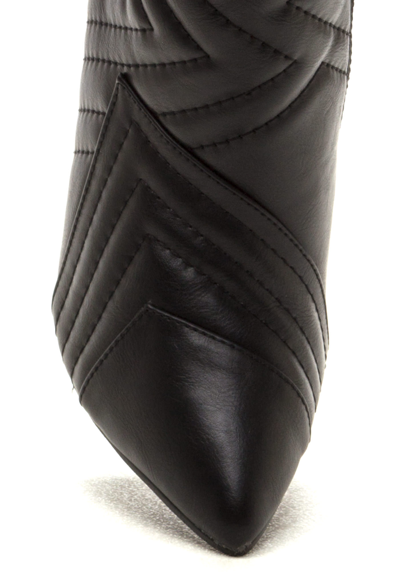 Quilted Wonder Faux Leather Boots BLACK