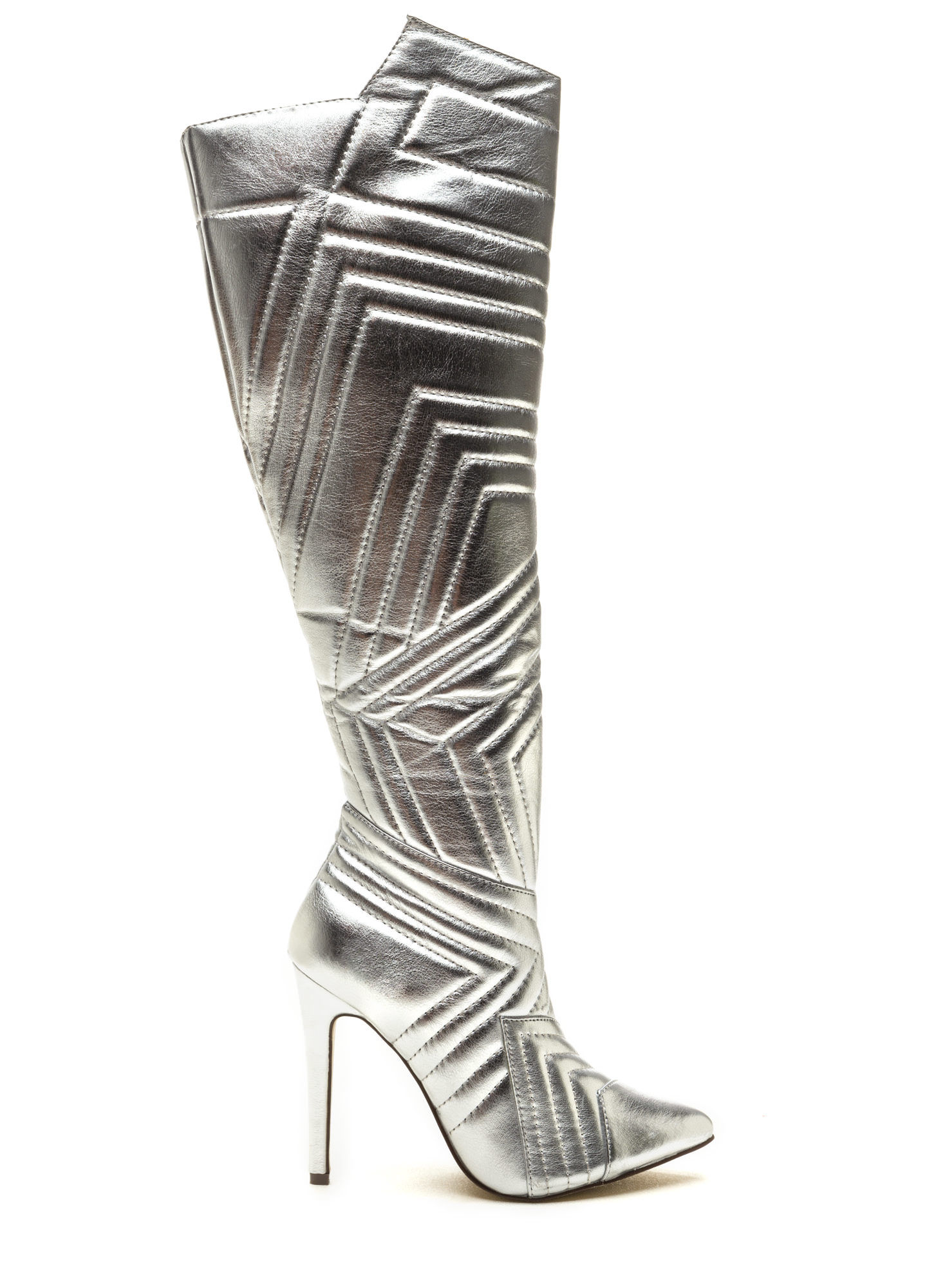 Quilted Wonder Metallic Boots SILVER
