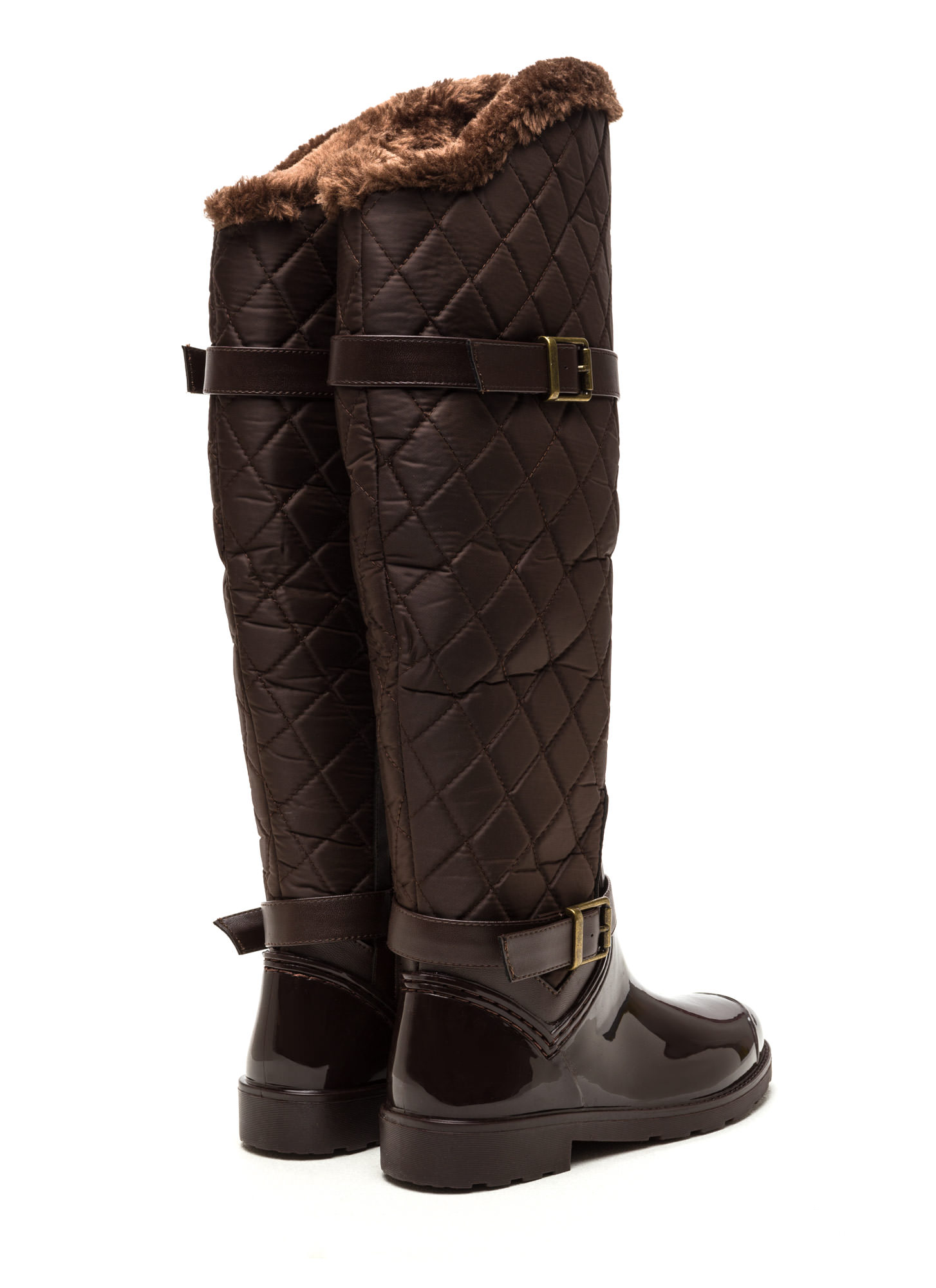 Snow Queen Quilted Rain Boots BROWN