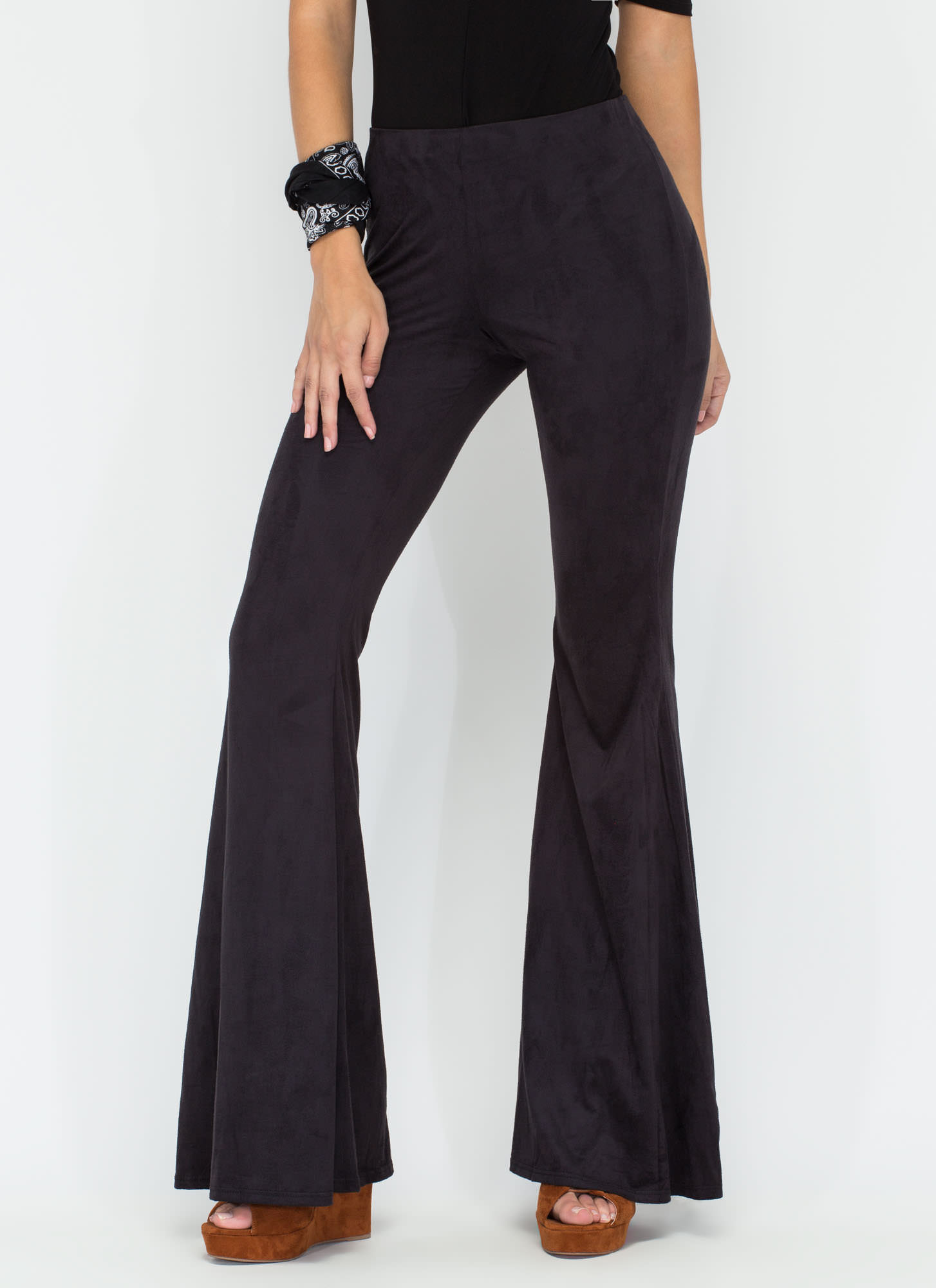 Easy Rider Faux Suede Bell-Bottoms BLACK