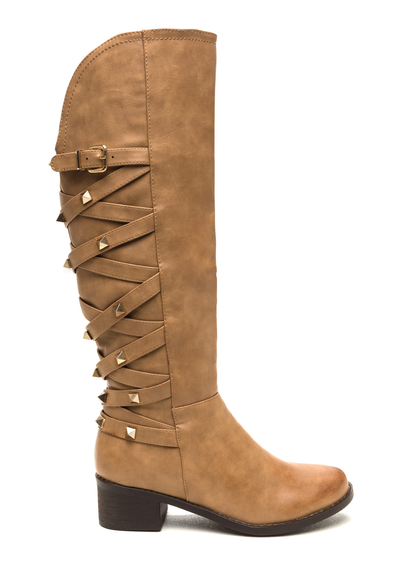 Stud Your Stuff Faux Leather Boots BEIGE