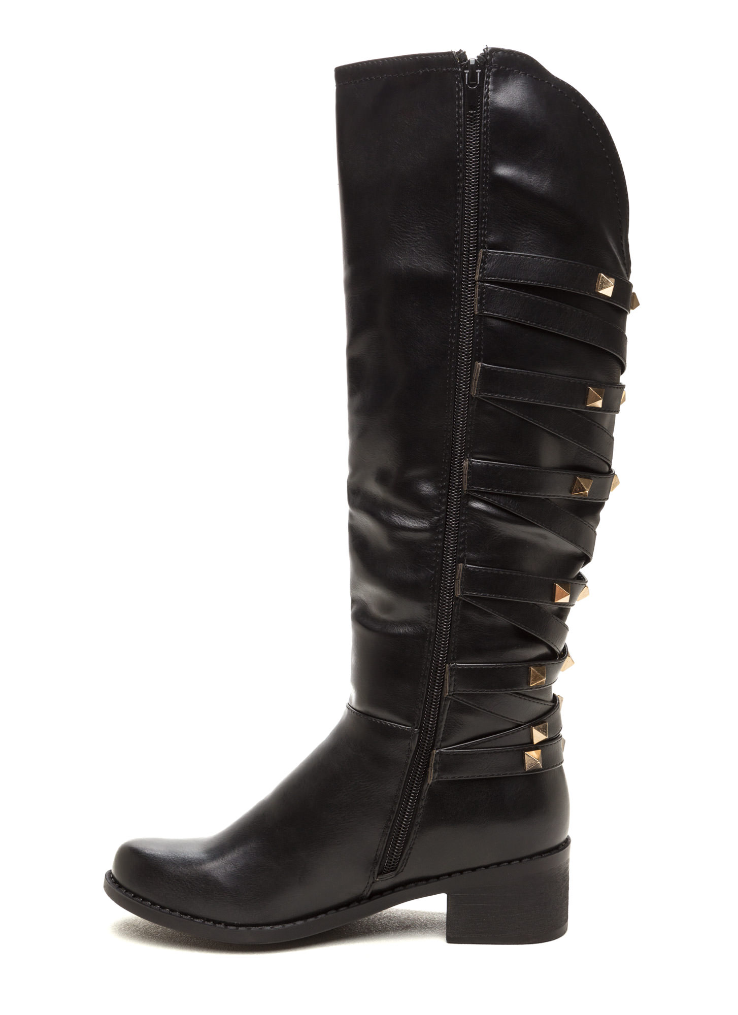 Stud Your Stuff Faux Leather Boots BLACK