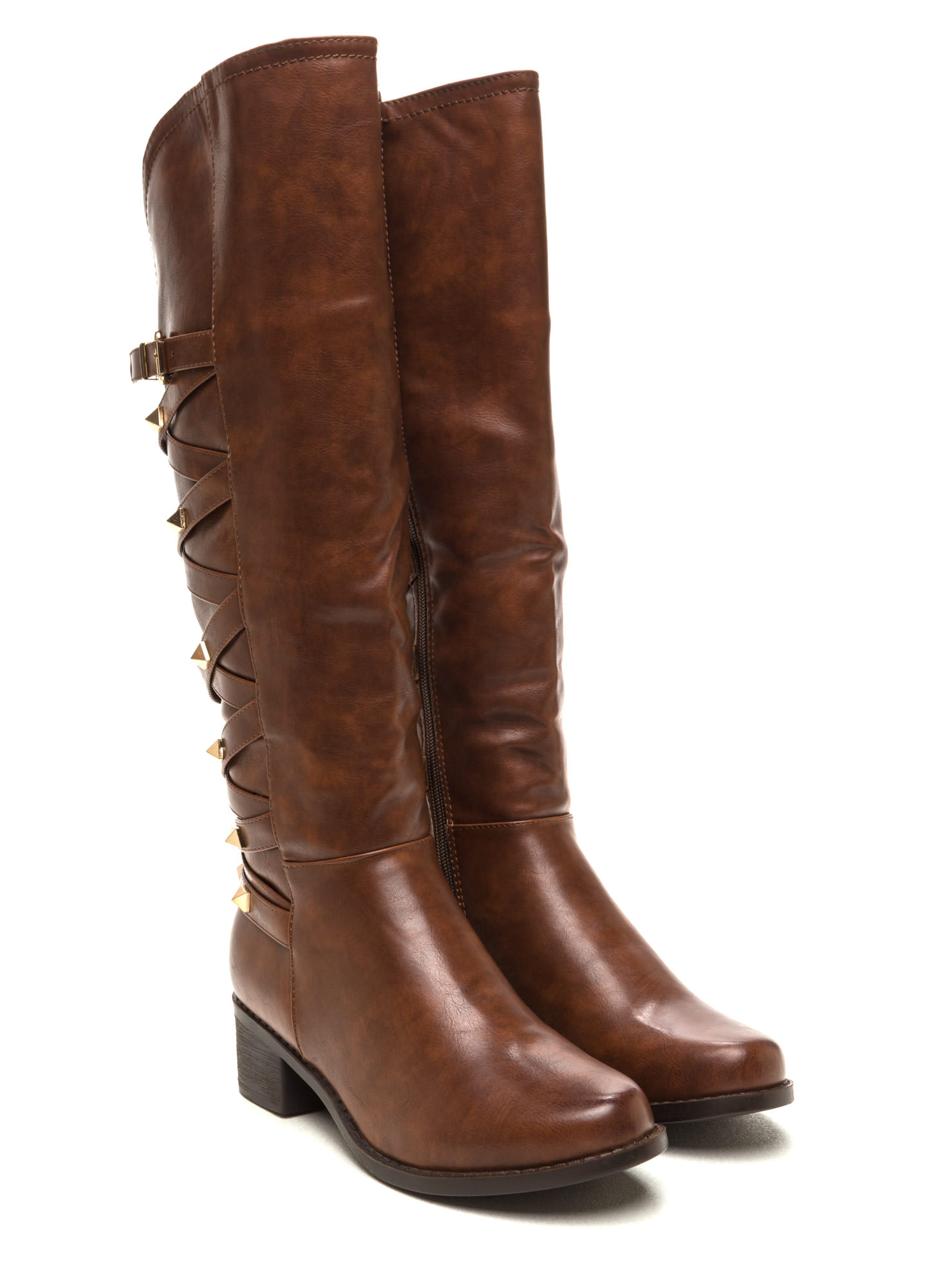 Stud Your Stuff Faux Leather Boots COGNAC