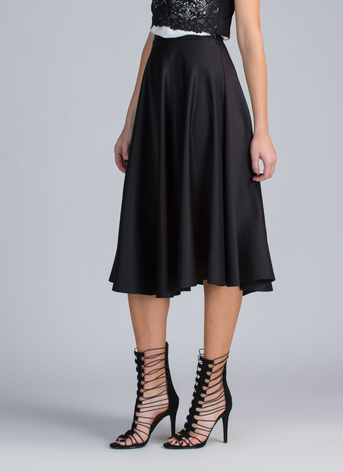 Go Around In Circles Flared Midi Skirt BLACK