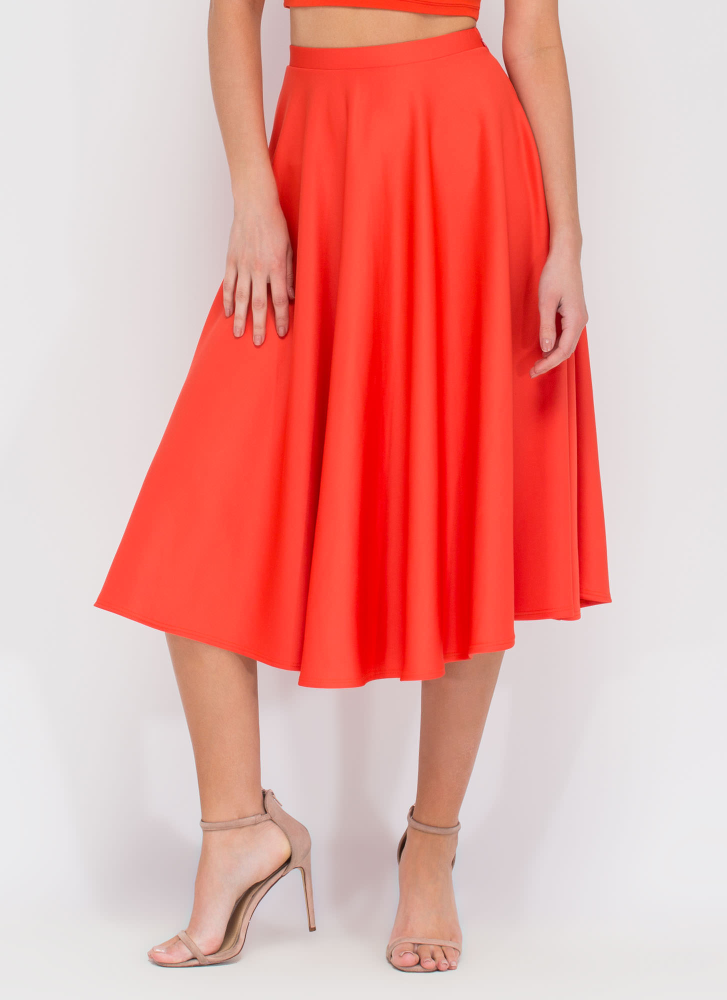 Go Around In Circles Flared Midi Skirt ORANGE