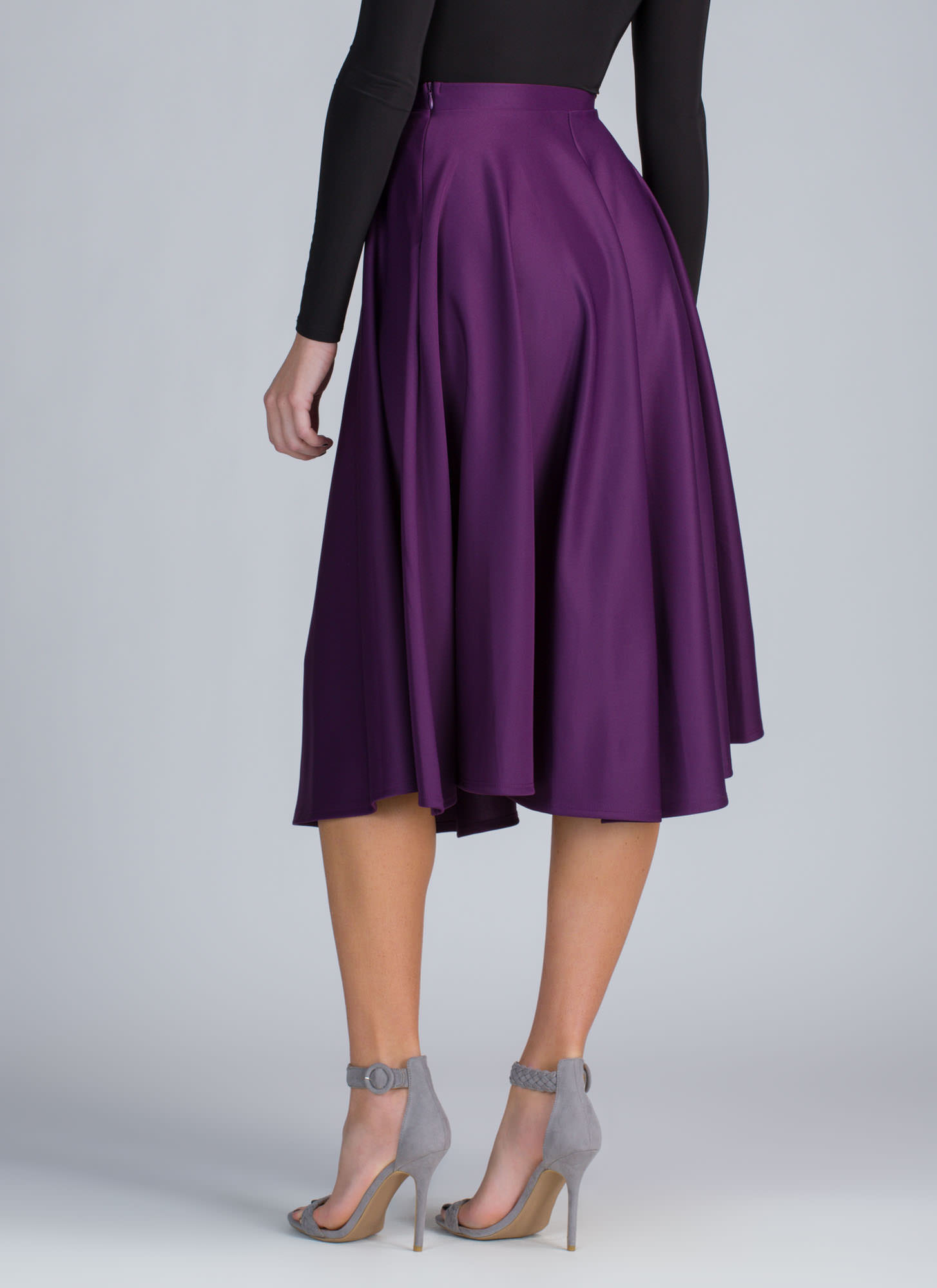 Go Around In Circles Flared Midi Skirt PURPLE