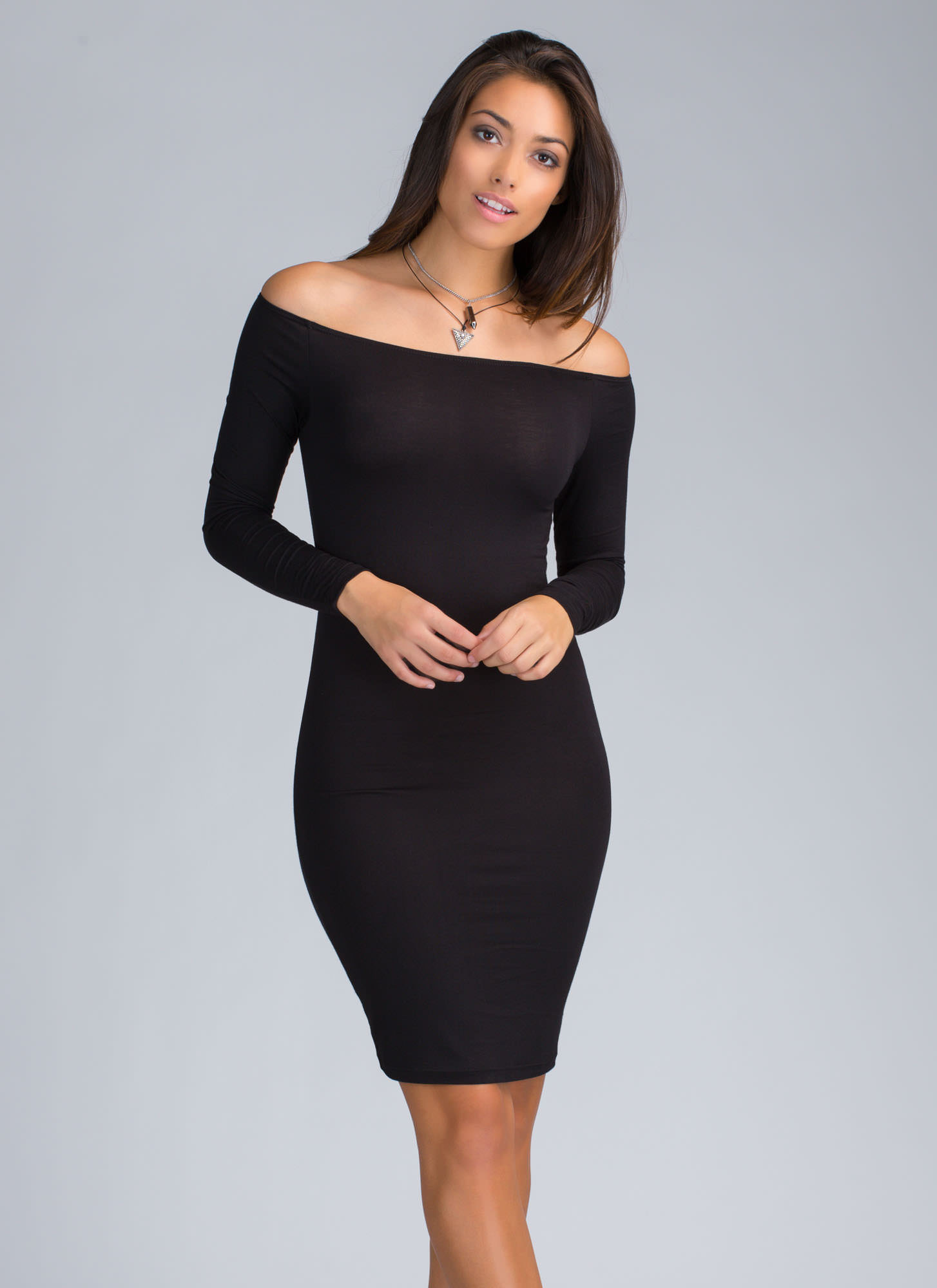 Chic In The City Off-The-Shoulder Dress BLACK