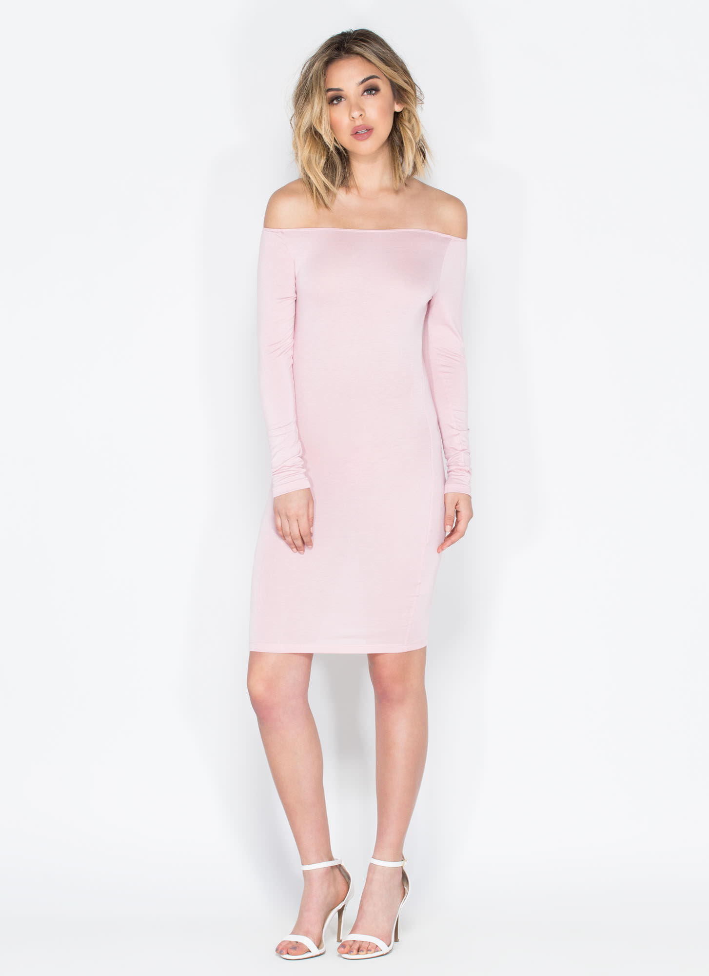 Chic In The City Off-The-Shoulder Dress BLUSH