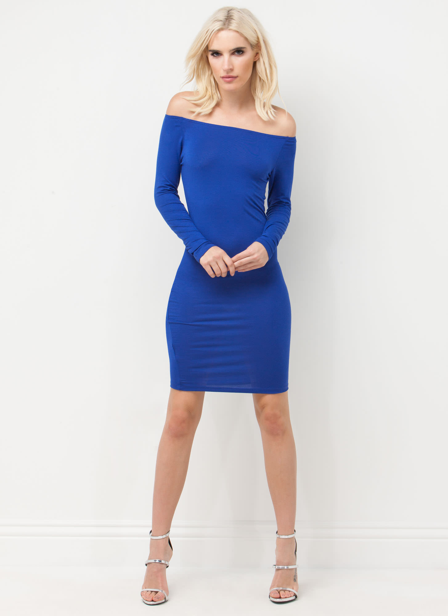 Chic In The City Off-The-Shoulder Dress ROYAL