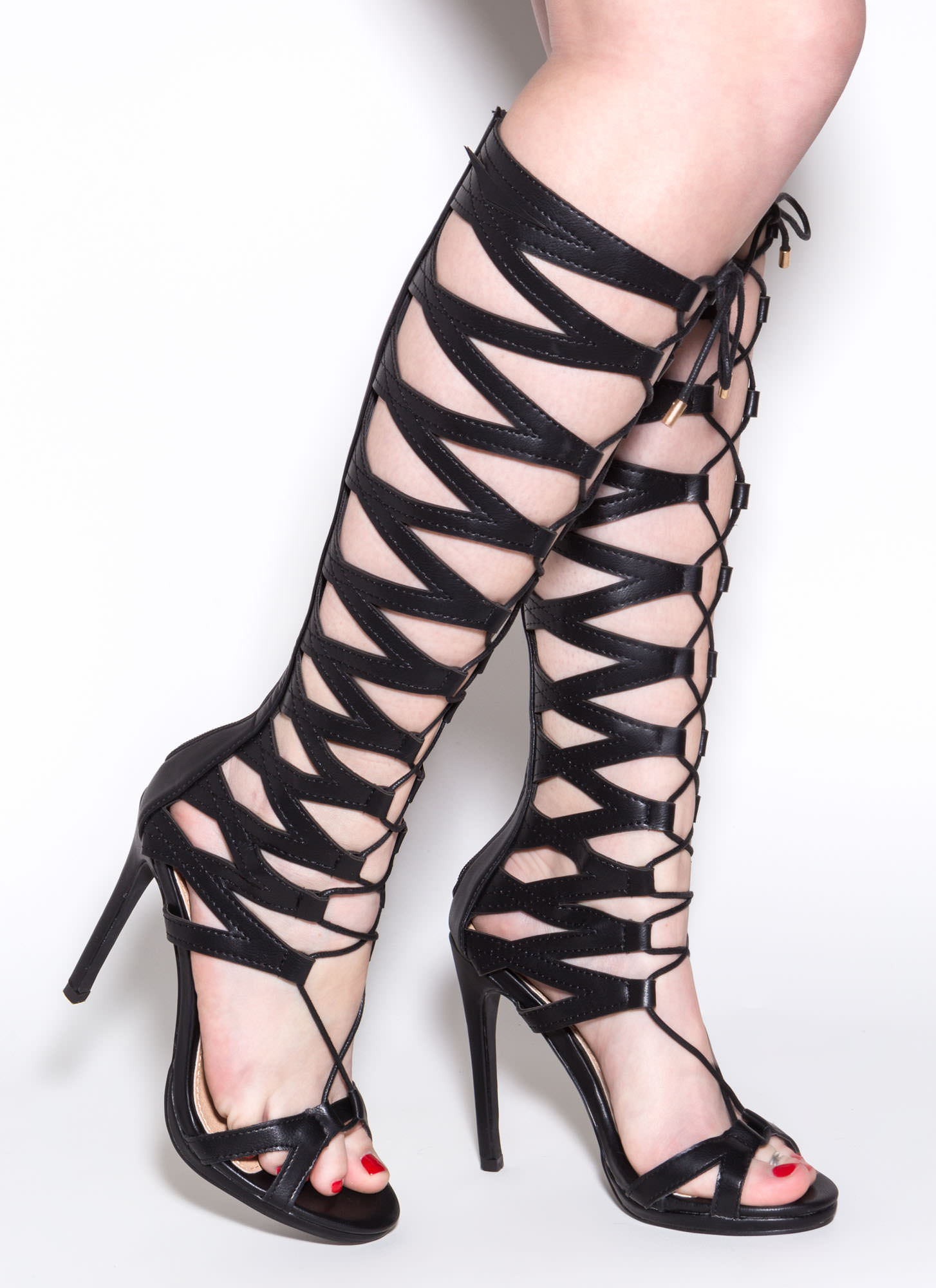 X's And Oohs Cut-Out Gladiator Heels BLACK