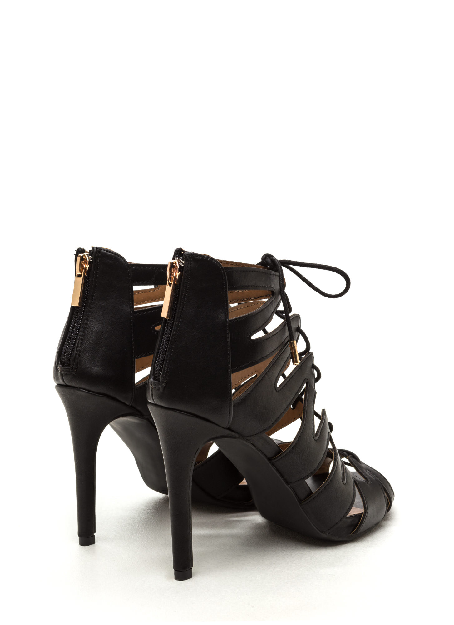 Standing Ovation Lace-Up Heels BLACK