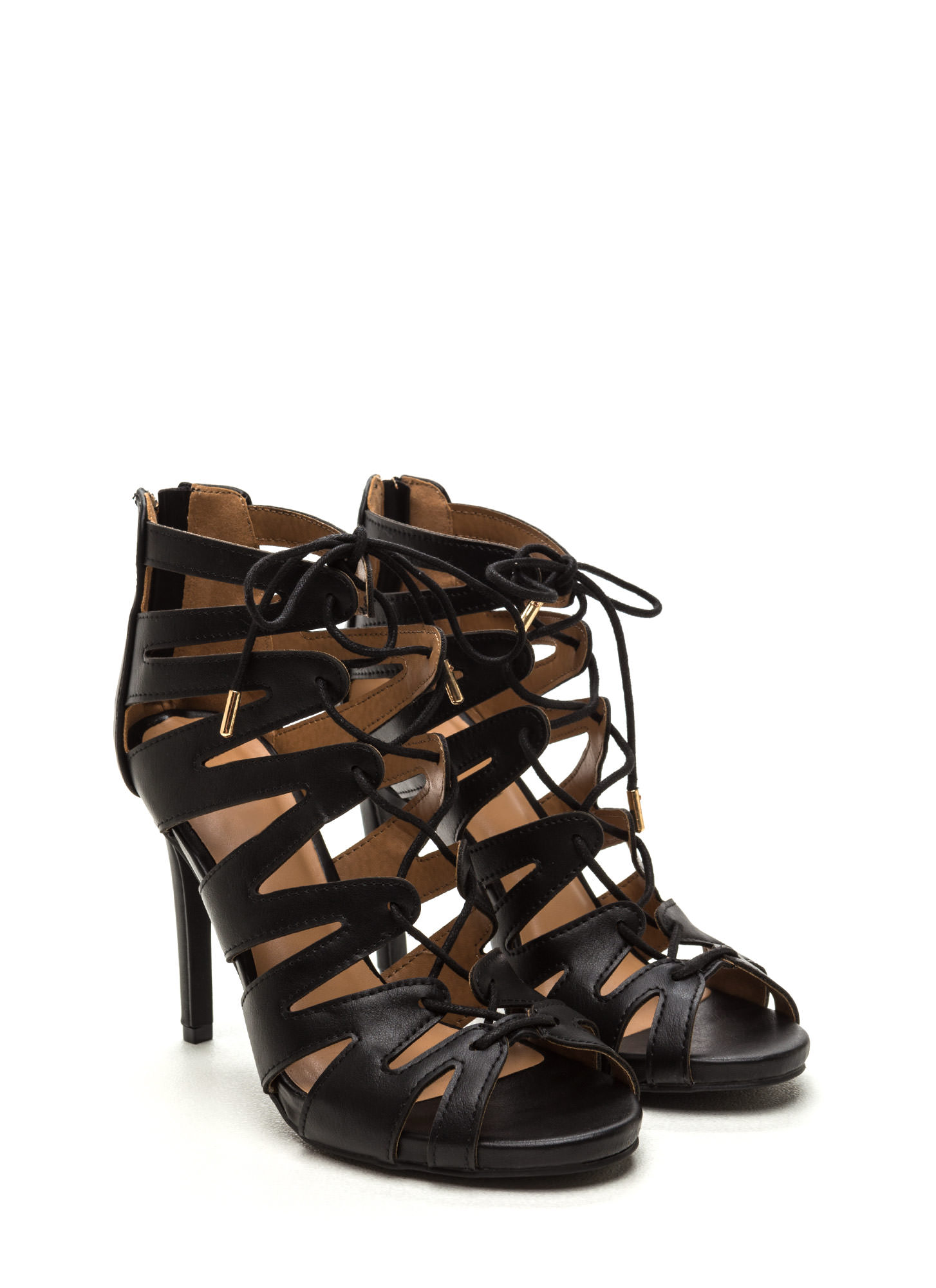 Standing Ovation Lace-Up Heels BLACK (Final Sale)