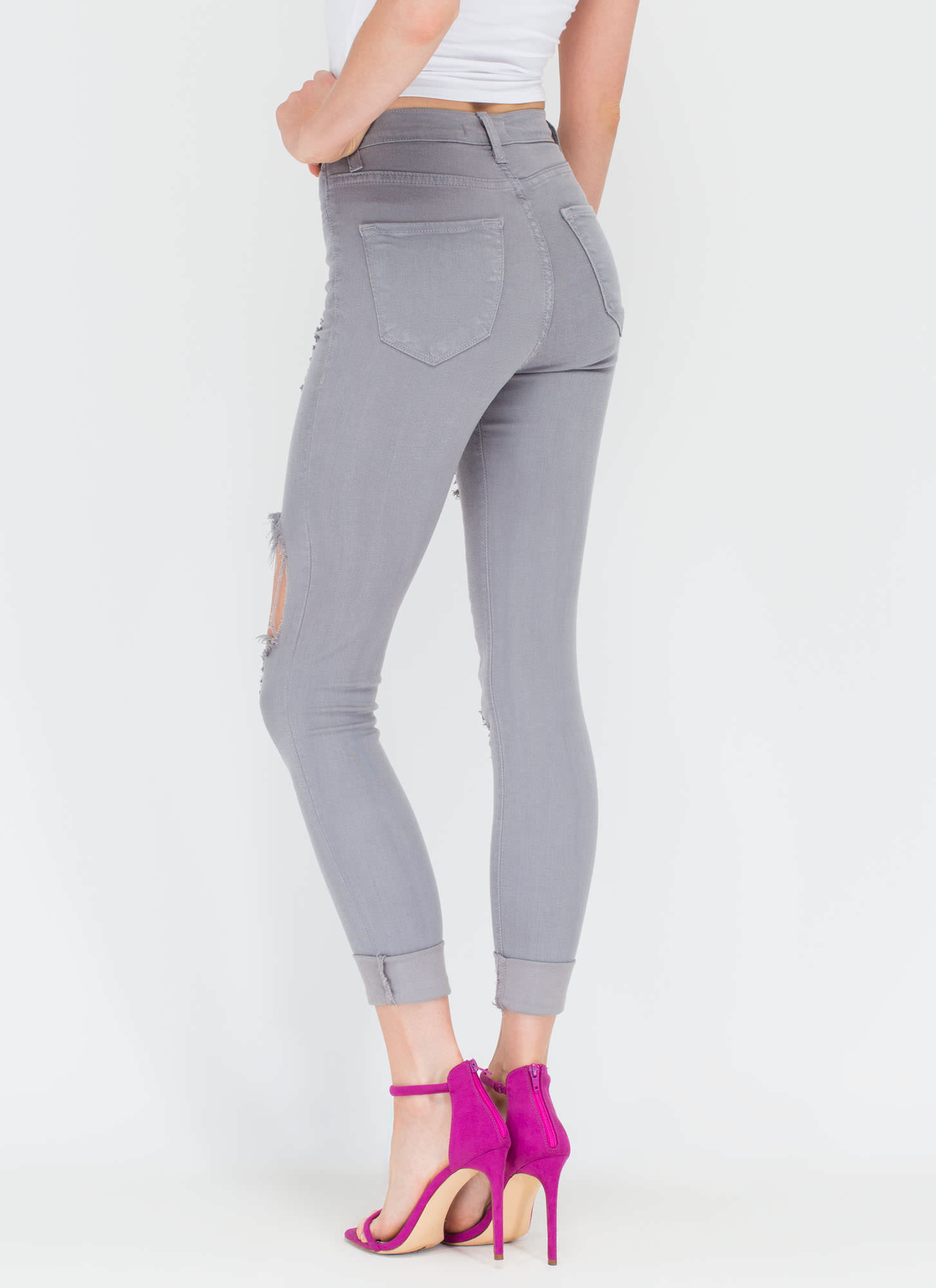 Shred-y To Rock Distressed Skinny Jeans GREY