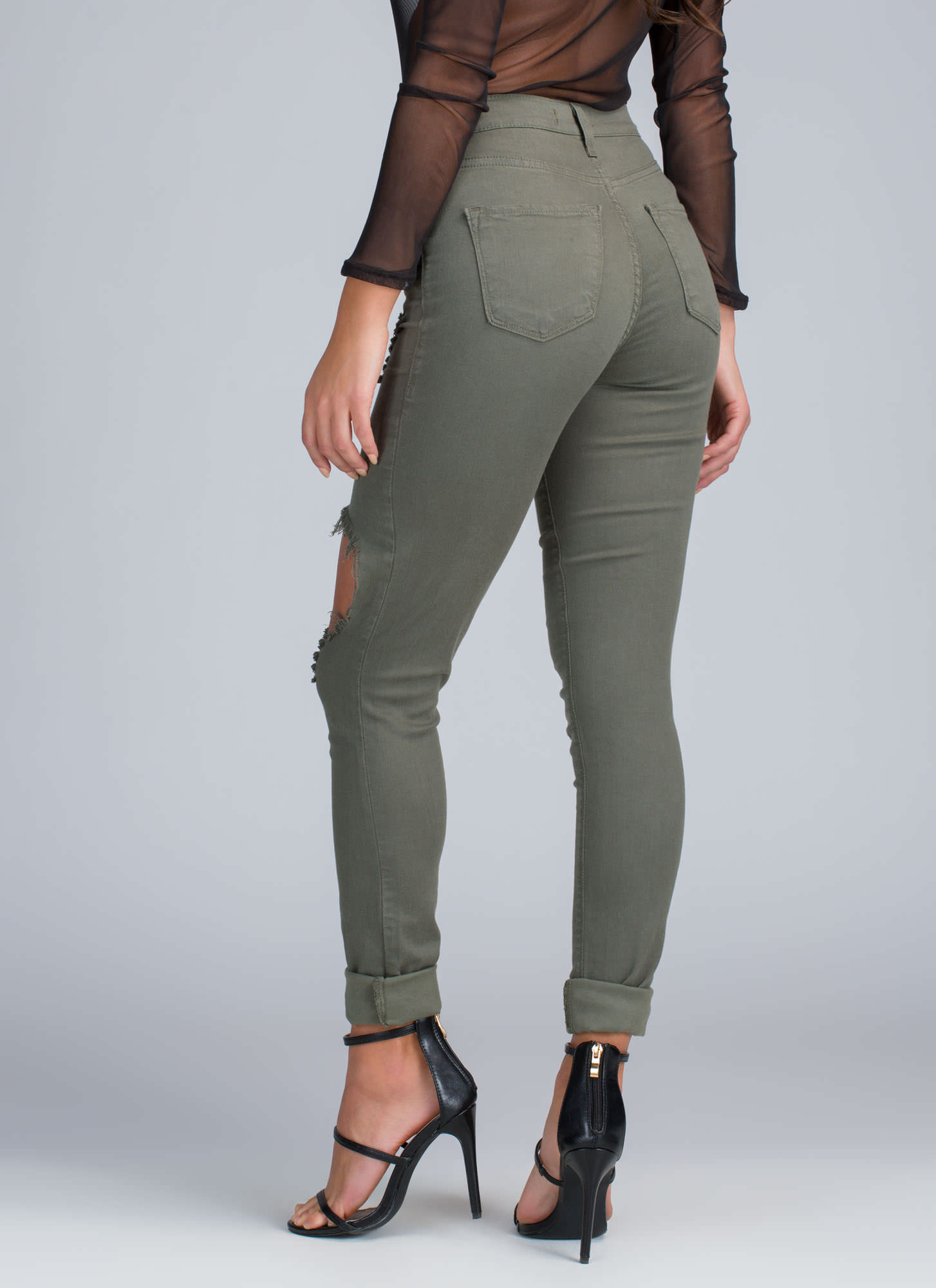 Shred-y To Rock Distressed Skinny Jeans OLIVE