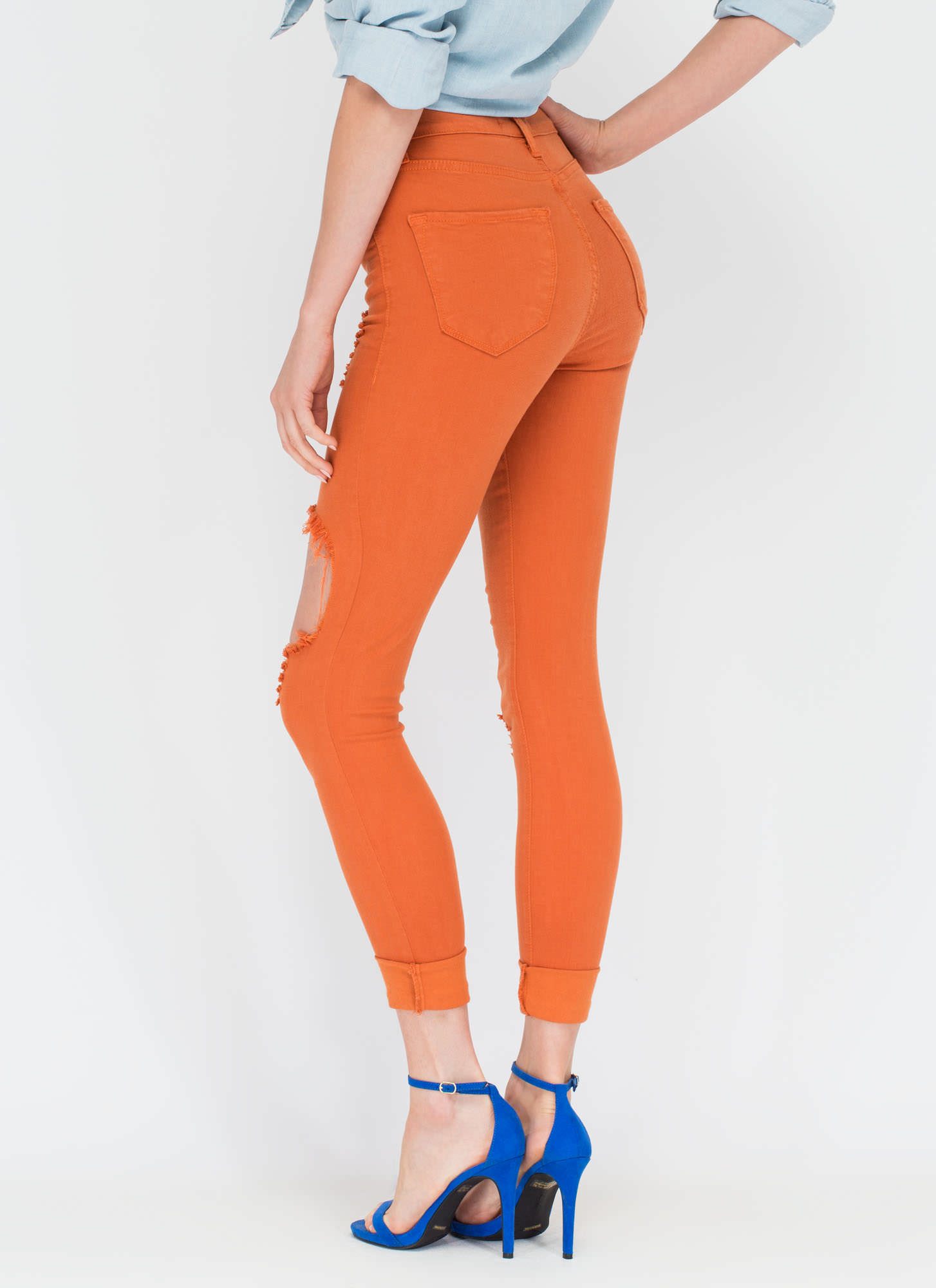 Shred-y To Rock Distressed Skinny Jeans PUMPKIN