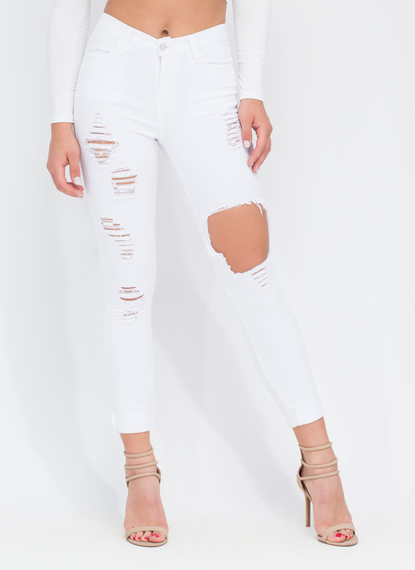 Shred-y To Rock Distressed Skinny Jeans WHITE