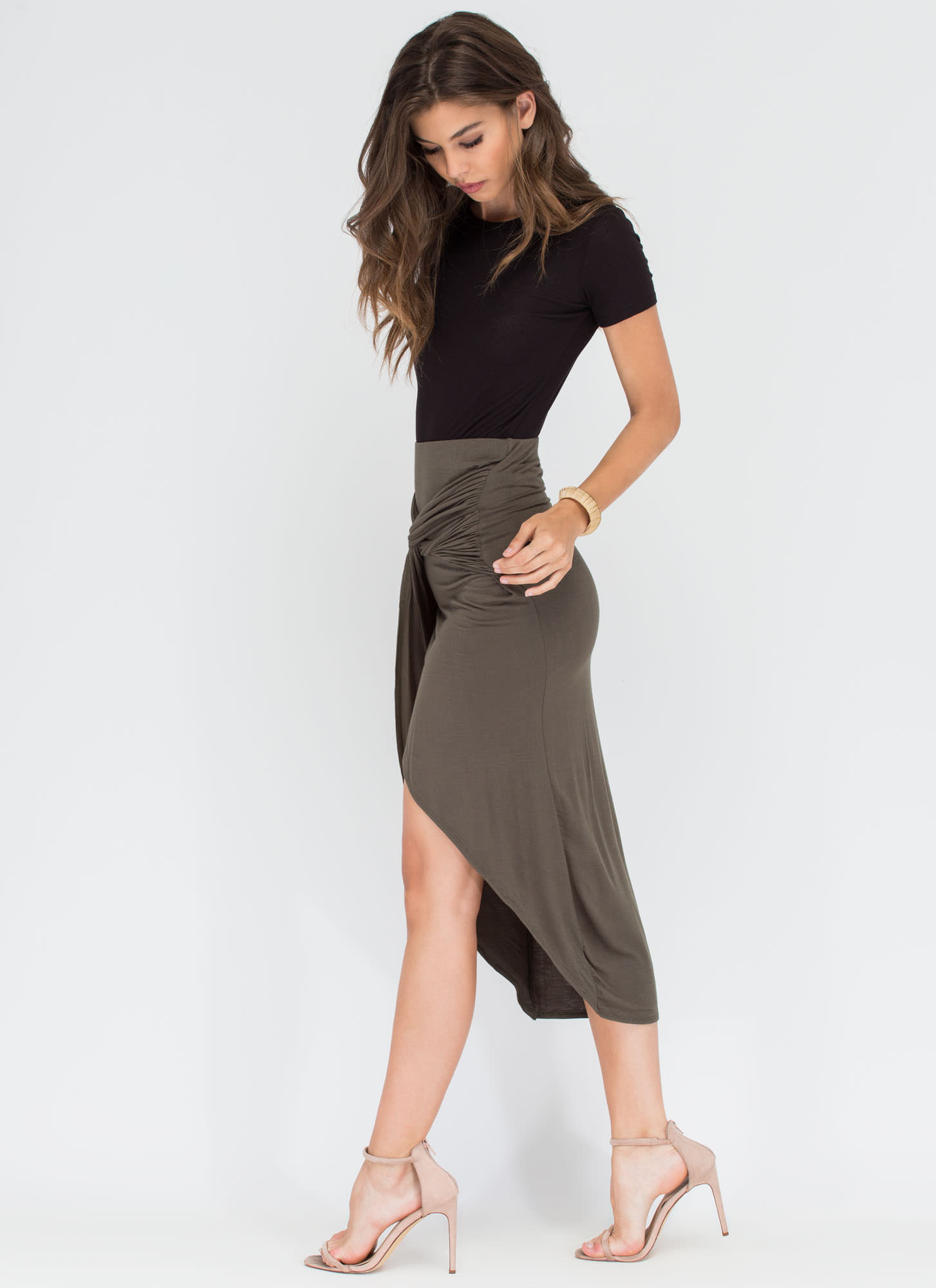Tangled Up In You Knotted Skirt OLIVE