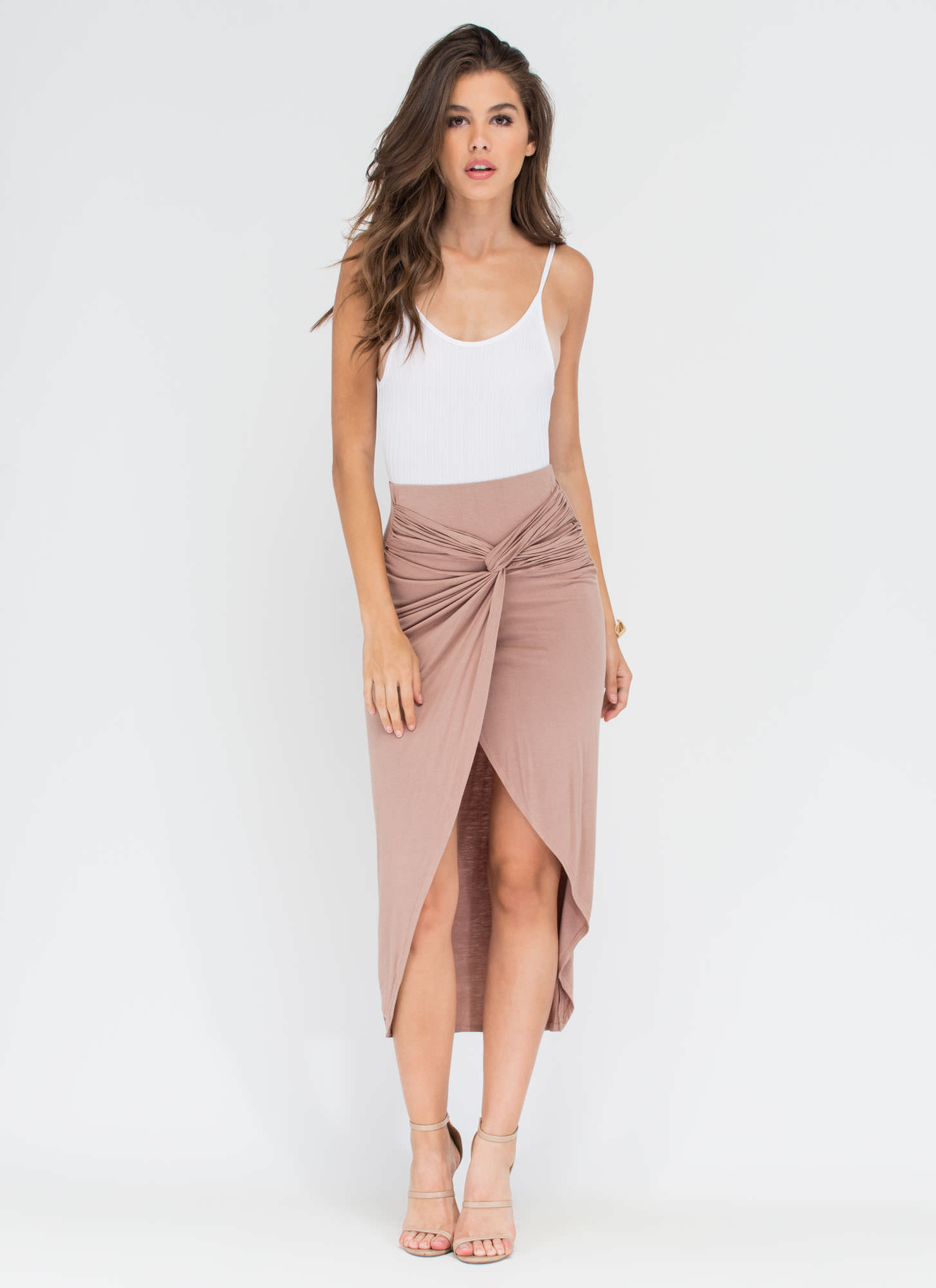Tangled Up In You Knotted Skirt TAUPE