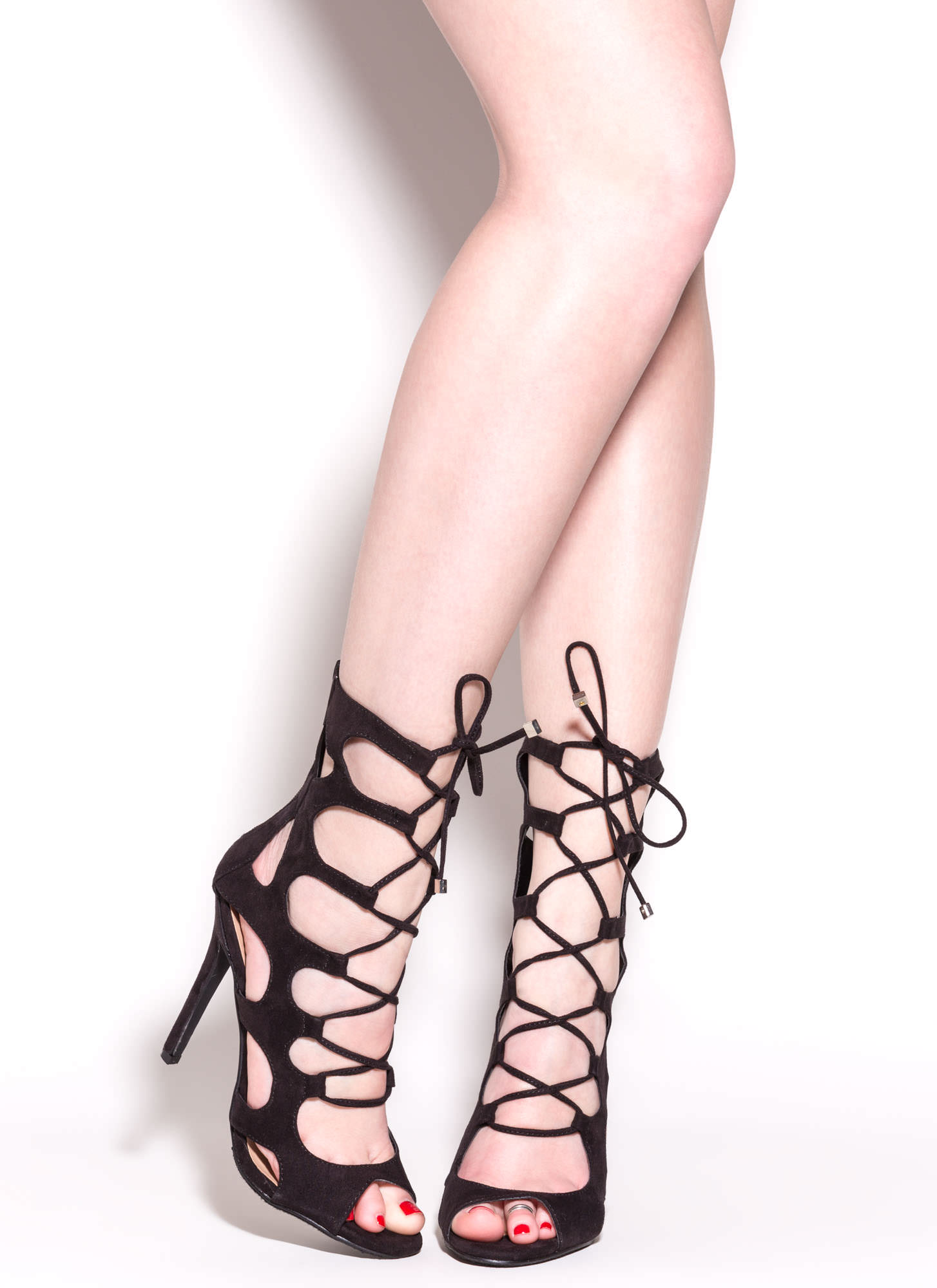 Cage Fighter Faux Suede Lace Up Heels BLACK