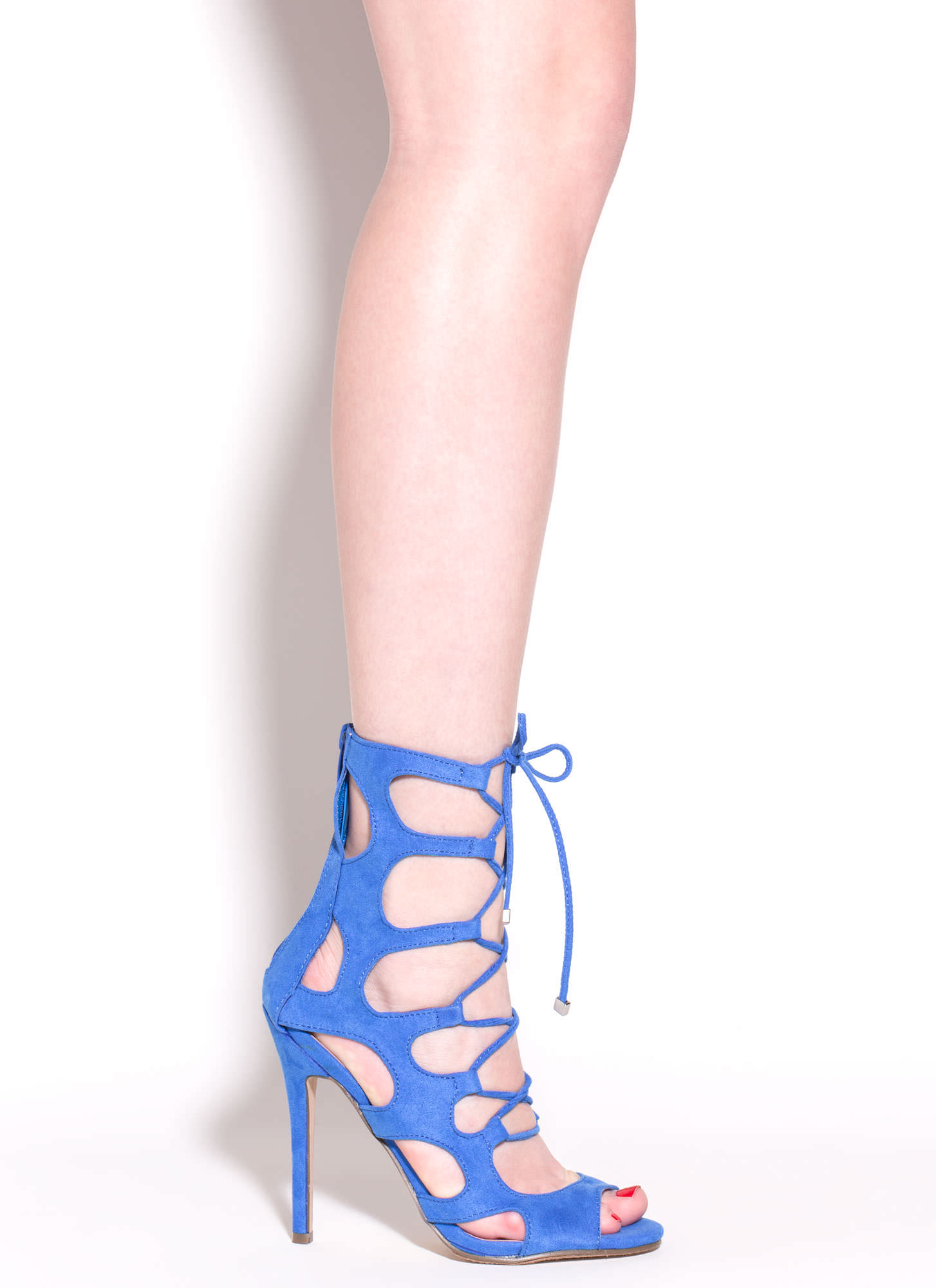 Cage Fighter Faux Suede Lace Up Heels BLUE