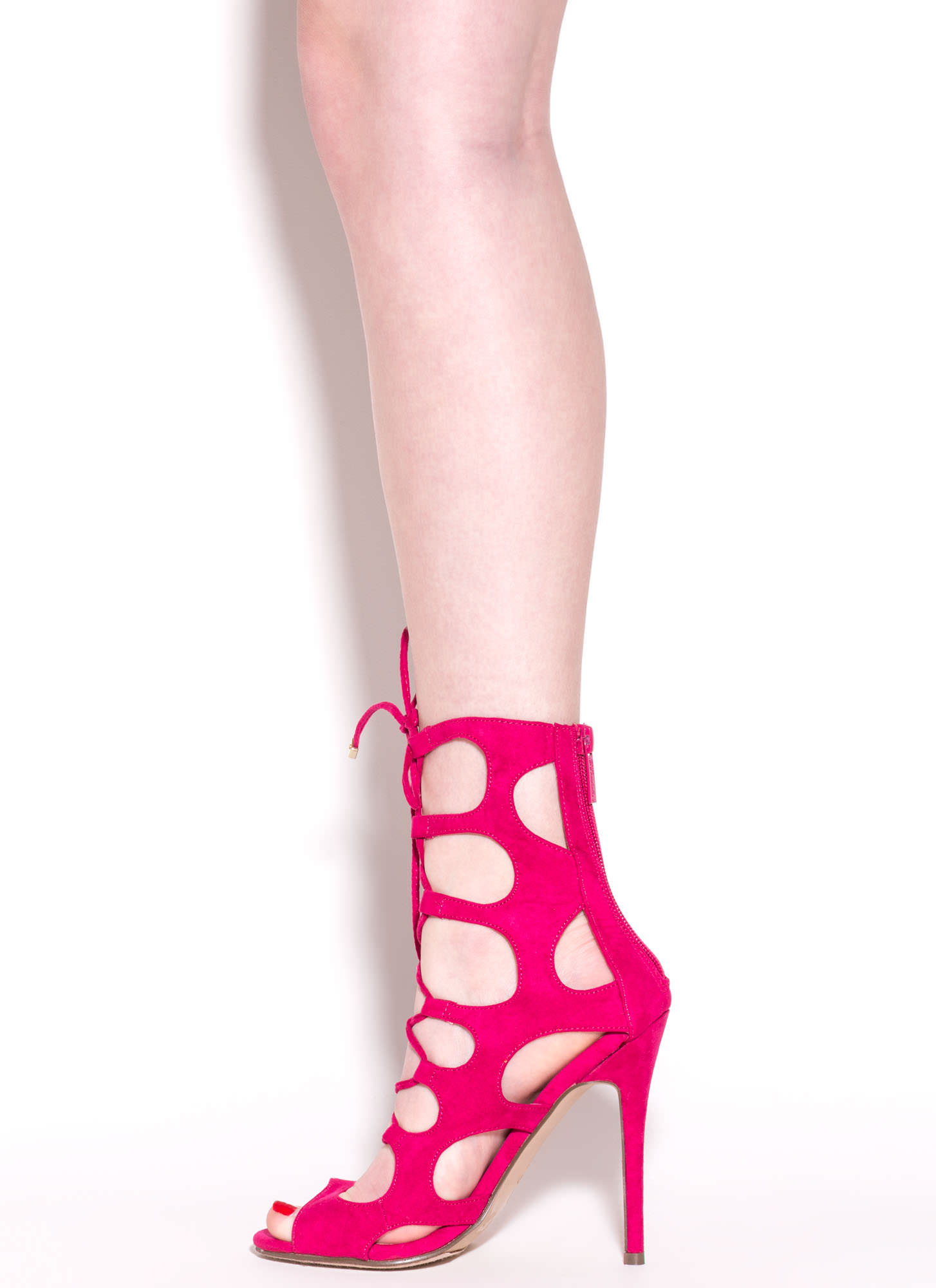 Cage Fighter Faux Suede Lace Up Heels FUCHSIA