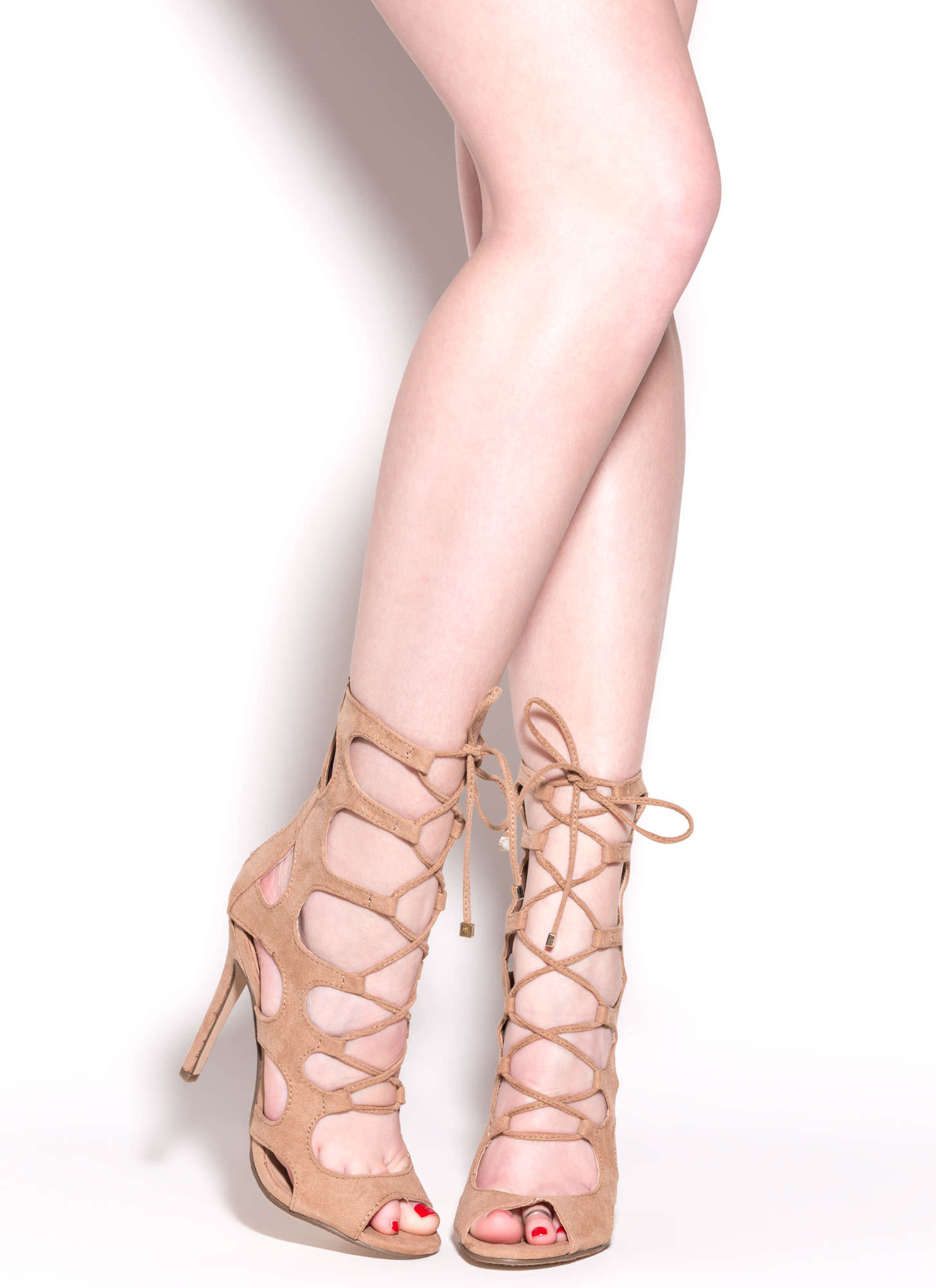 Cage Fighter Faux Suede Lace Up Heels NATURAL