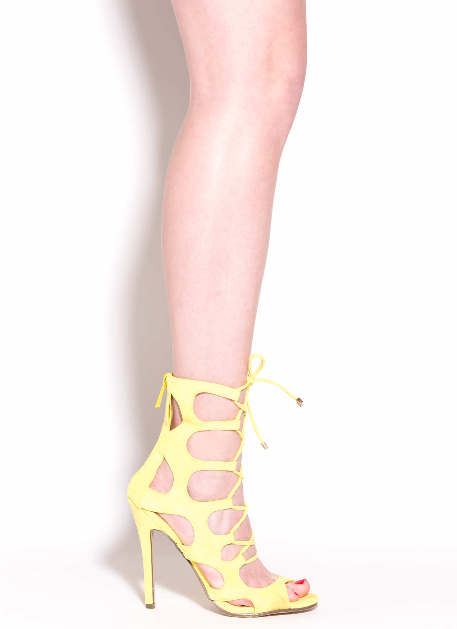 Cage Fighter Faux Suede Lace Up Heels YELLOW