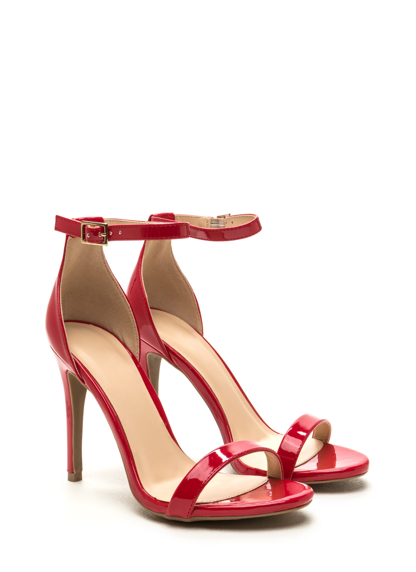 Single-Strap Ladies Faux Patent Heels RED